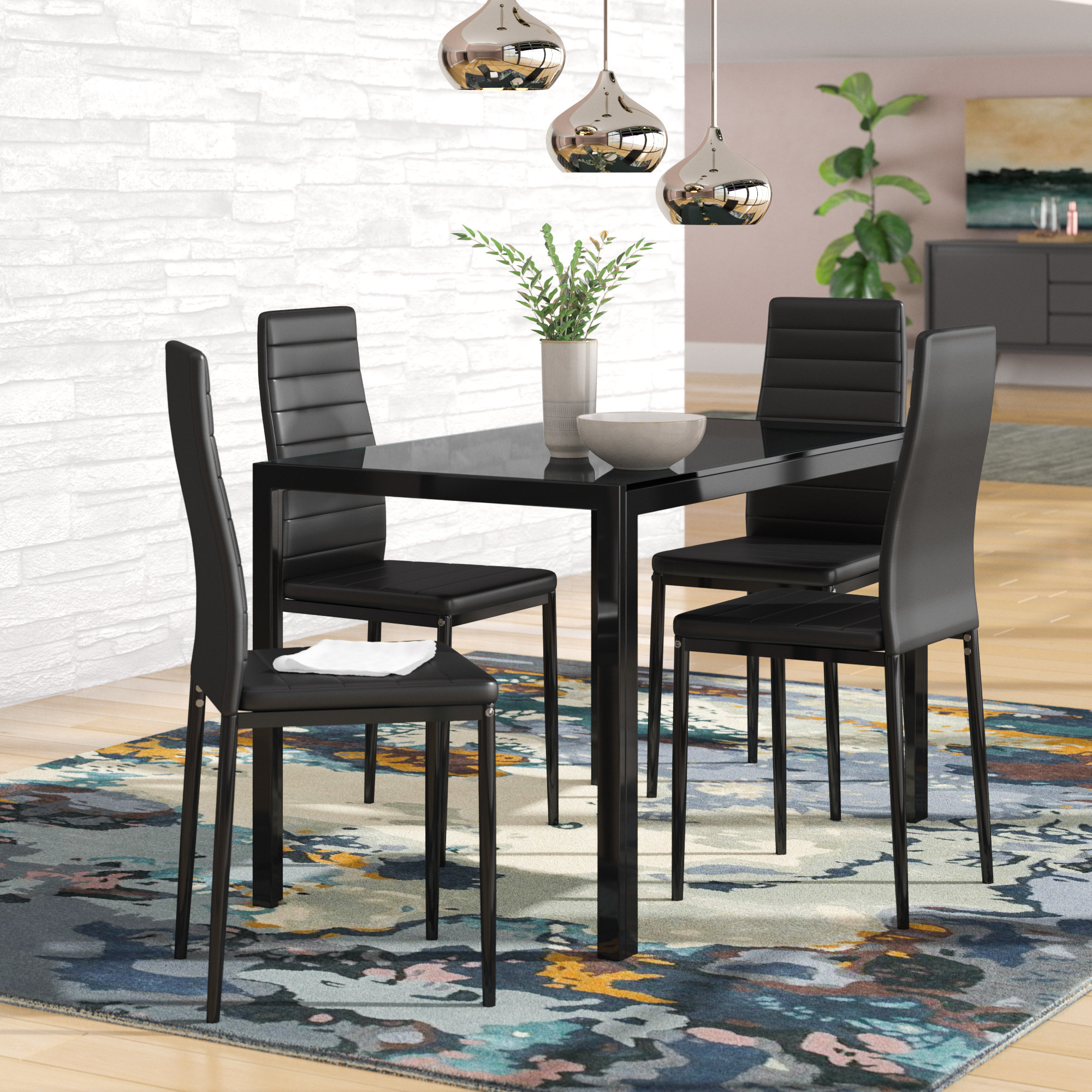 2017 Maynard 5 Piece Dining Sets Within Orren Ellis Zaugg 5 Piece Dining Set & Reviews (View 9 of 20)