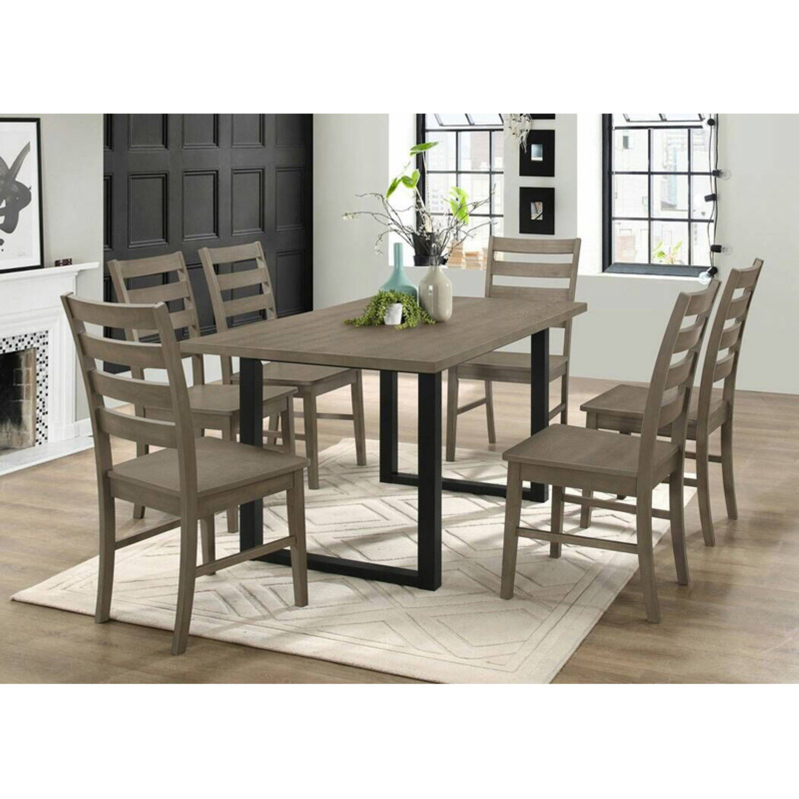 2017 Walker Edison Modern 7 Piece Dining Table Set Grey In 2019 Throughout Kieffer 5 Piece Dining Sets (#1 of 20)
