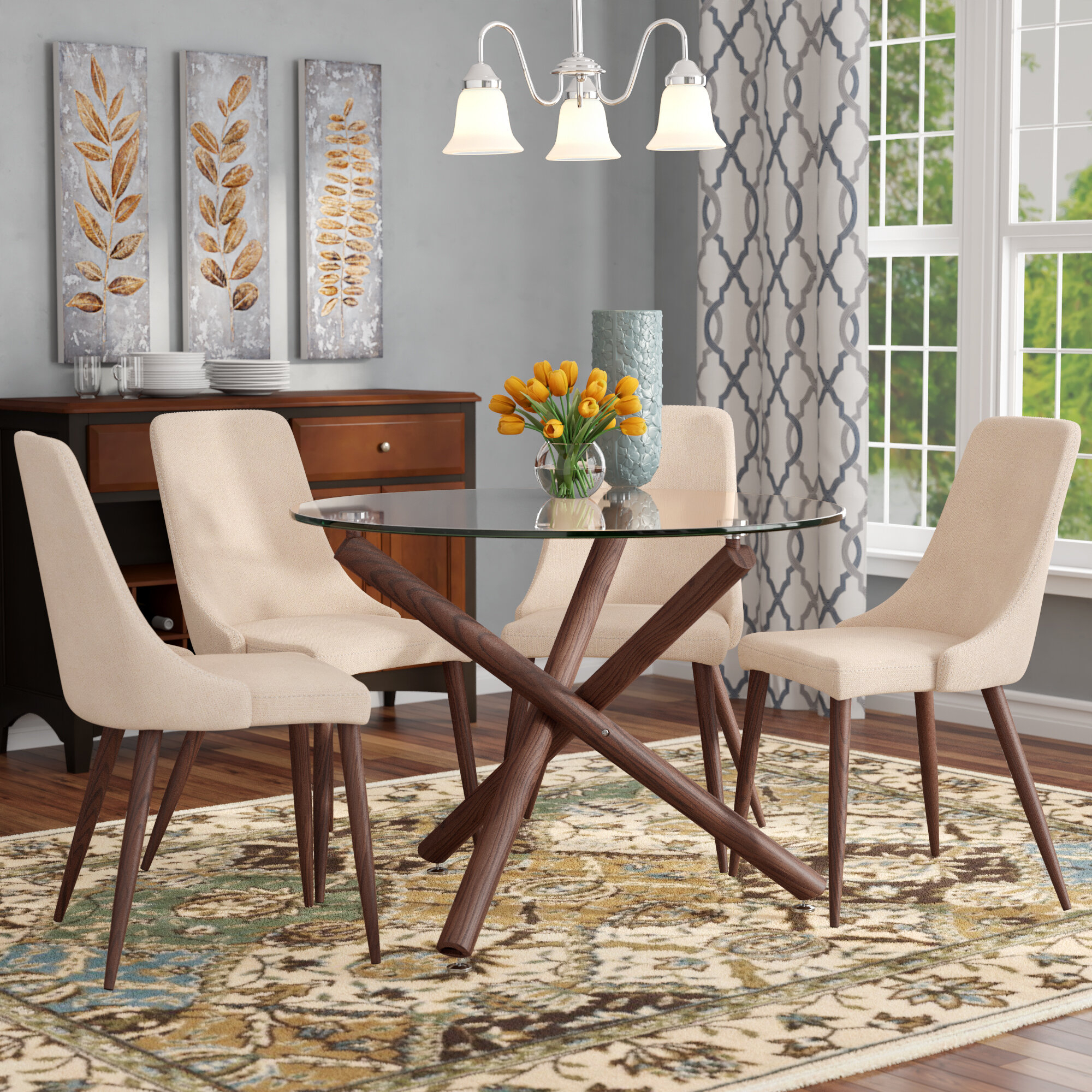 Inspiration about 2018 Corrigan Studio Helsdon 5 Piece Dining Set & Reviews (#7 of 20)