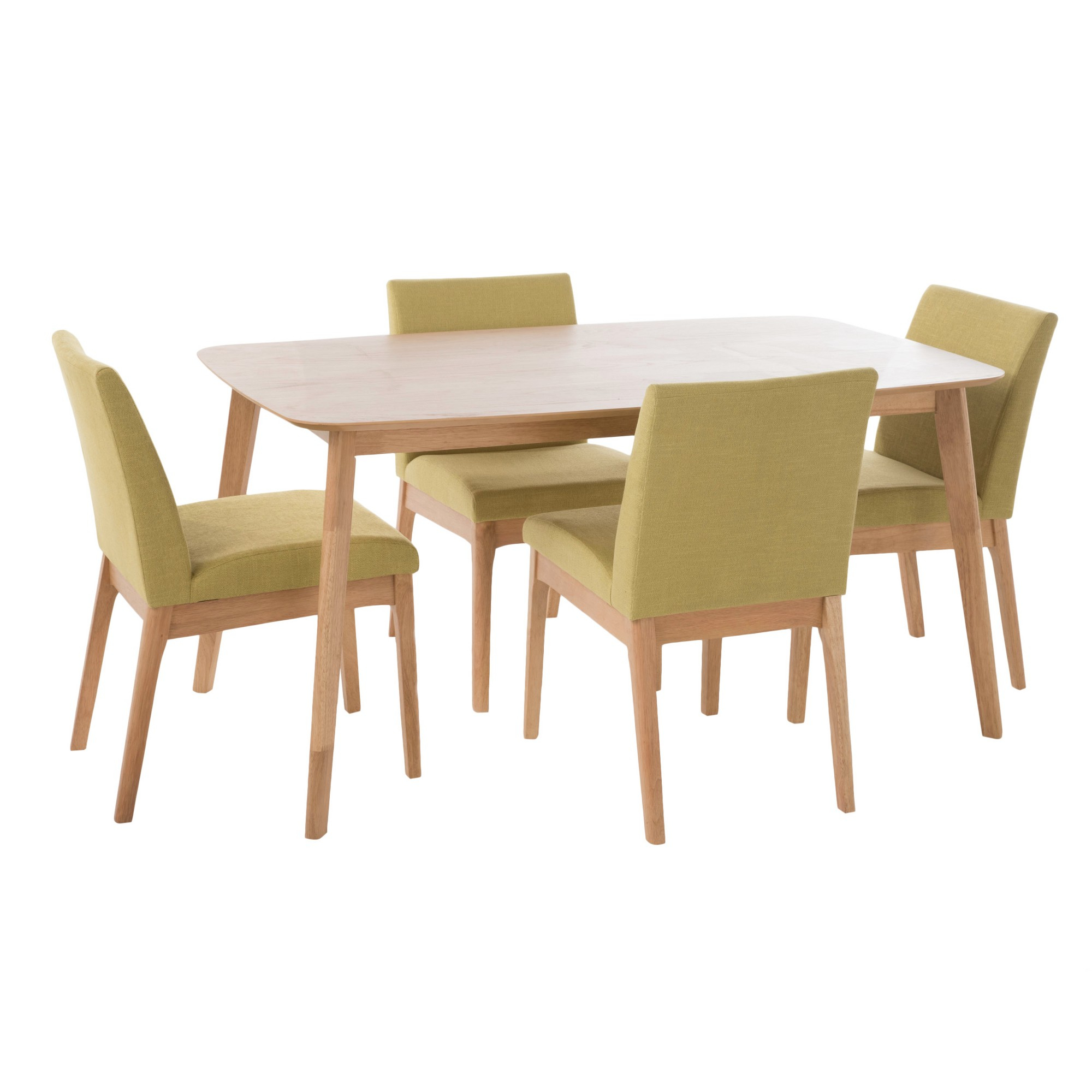 Inspiration about 2018 Kwame 60 5 – Piece Dining Set – Natural Oak/green Tea – Christopher Regarding Telauges 5 Piece Dining Sets (#7 of 20)