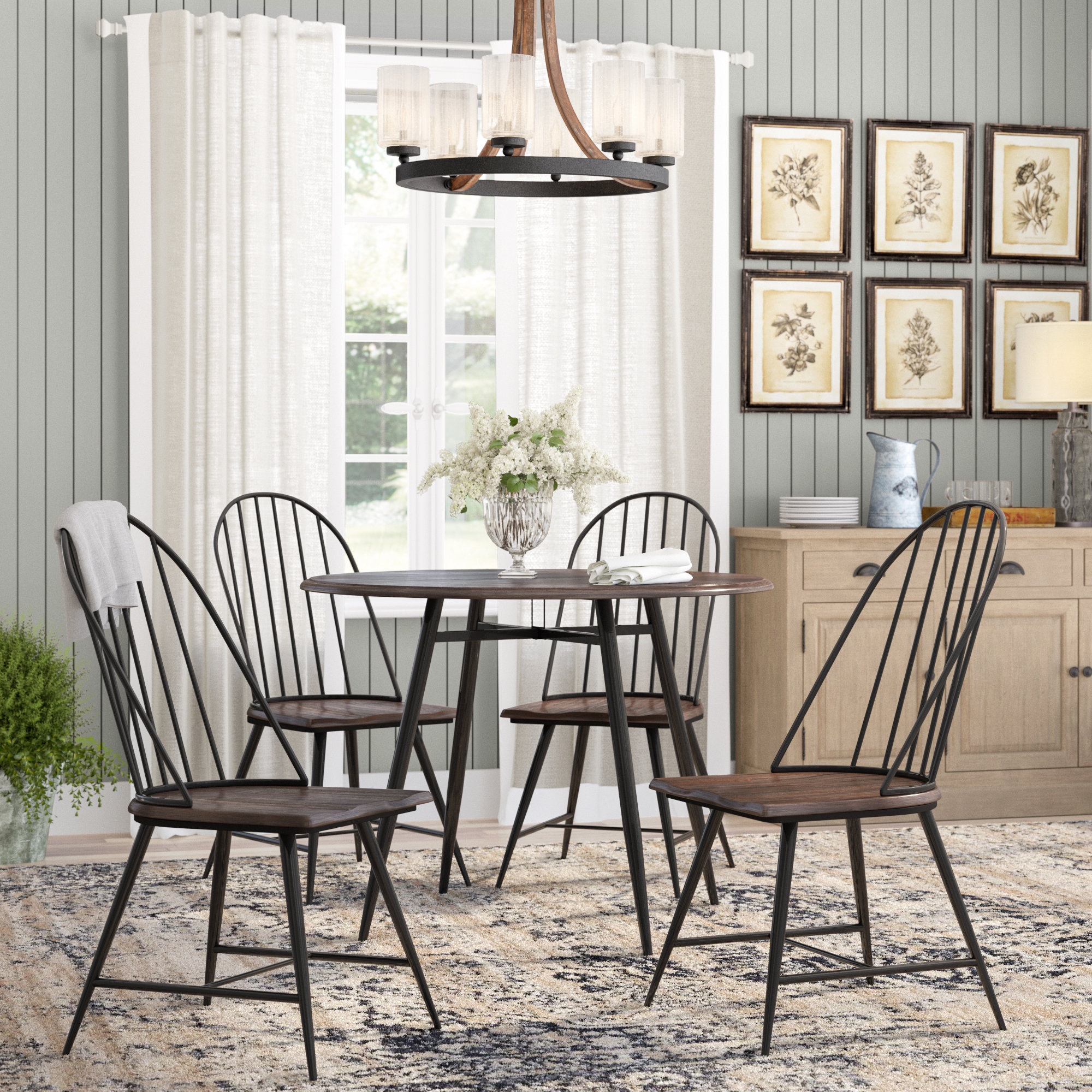 2018 Laurel Foundry Modern Farmhouse Hughley 5 Piece Dining Set & Reviews For Middleport 5 Piece Dining Sets (#1 of 20)