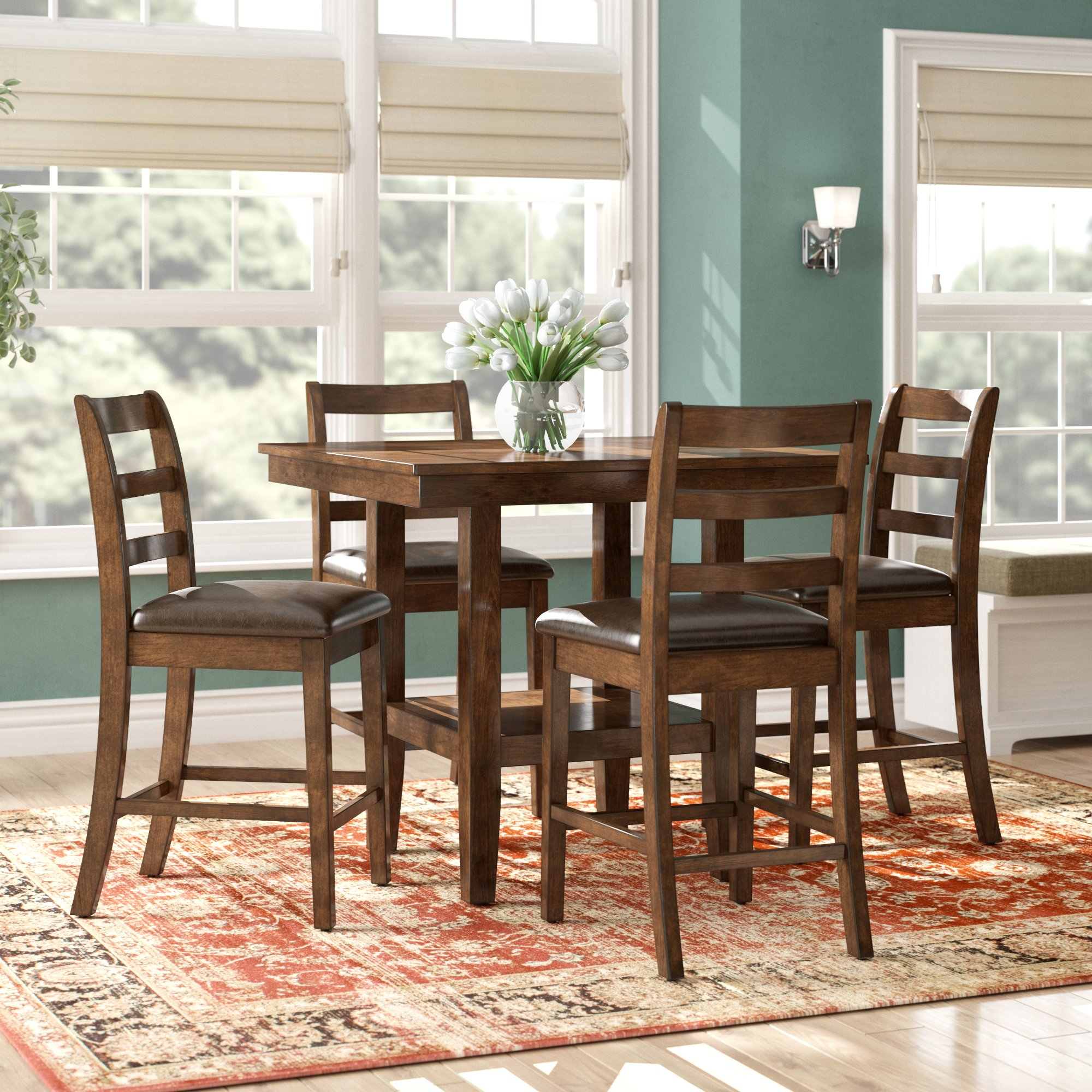 2020 Sheetz 3 Piece Counter Height Dining Sets With Regard To Alcott Hill Gosselin Contemporary 5 Piece Counter Height Dining Set (View 6 of 20)
