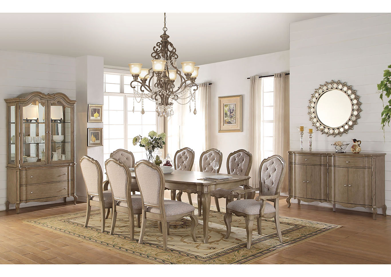 2020 The Furniture Outlet Ny Chelmsford Antique Taupe Rectangular Dining Inside Chelmsford 3 Piece Dining Sets (View 3 of 20)