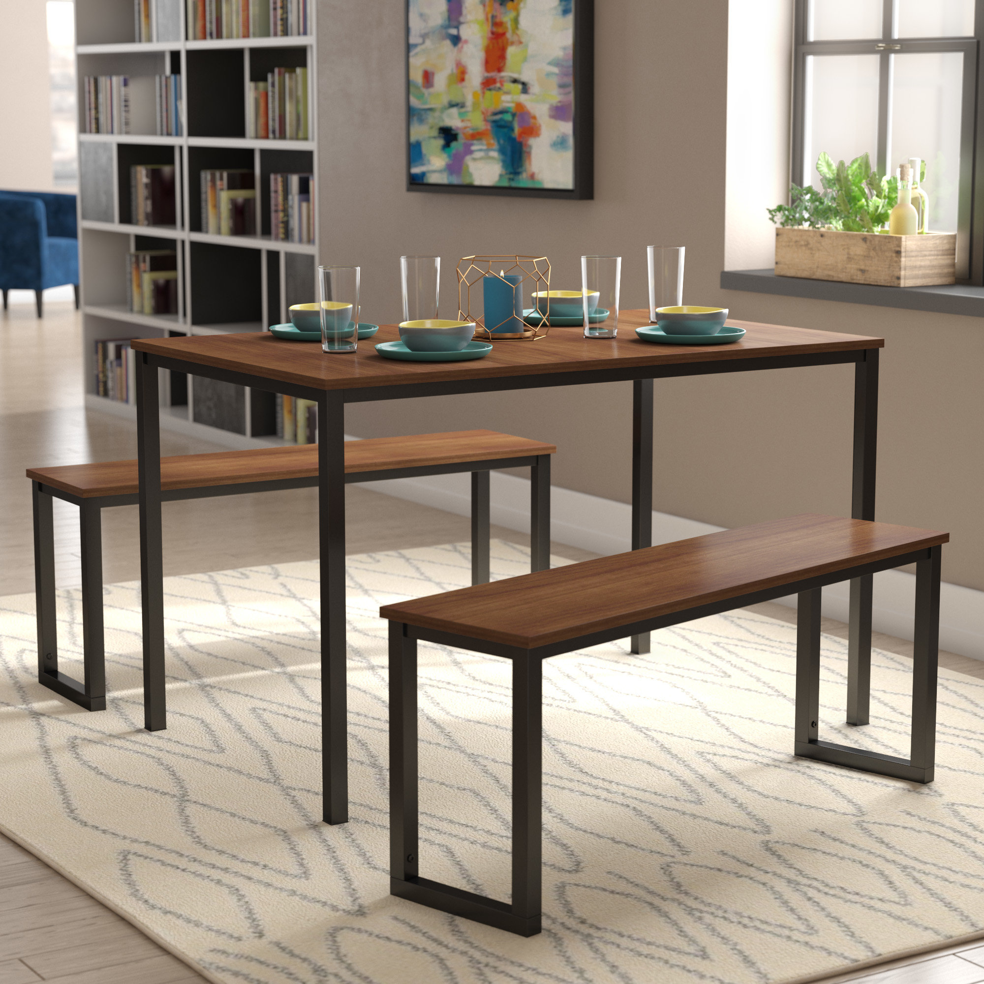 3 Piece Dining Sets Throughout Latest Modern Rustic Interiors Frida 3 Piece Dining Table Set & Reviews (#3 of 20)