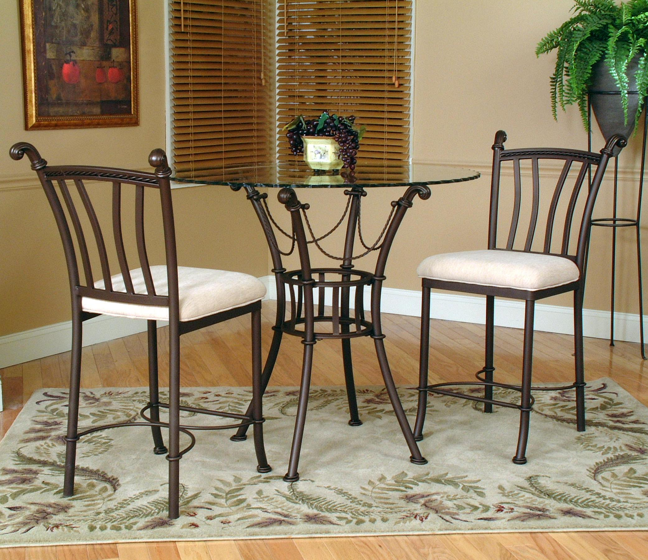 3 Piece Dining Sets Within Most Recent Cramco, Inc Denali 3 Piece Counter Height Glass Table And Chair (#6 of 20)