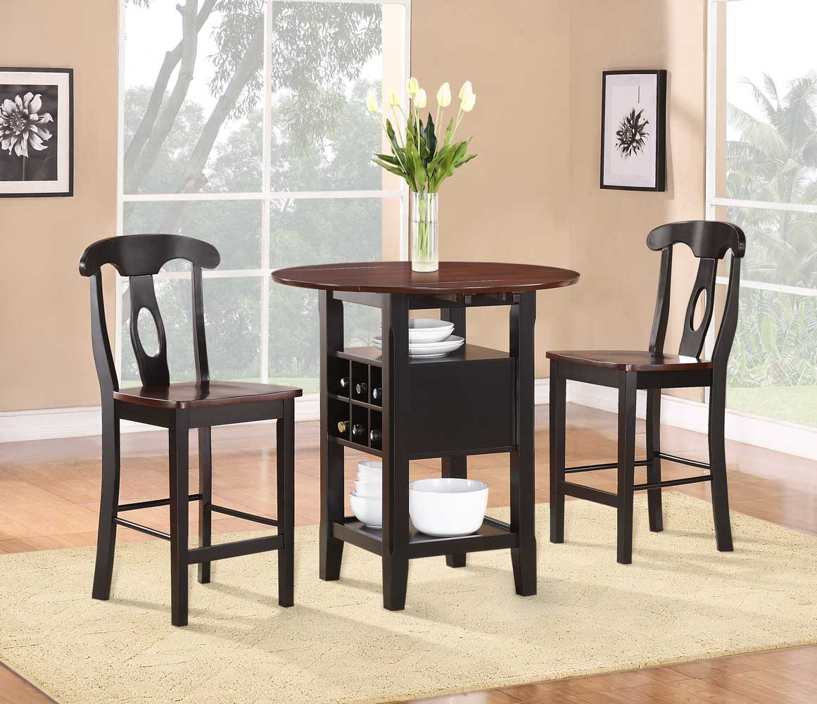 3 Piece Dining Sets Within Widely Used Homelegance Atwood 3 Piece Counter Height Dining Set 2505Bk  (#8 of 20)