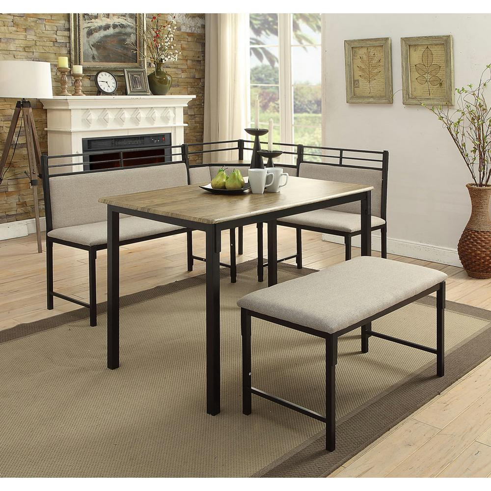 4D Concepts Boltzero 3 Piece Black And Tan Corner Dining Nook Set With 2019 3 Piece Breakfast Nook Dinning Set (#7 of 20)