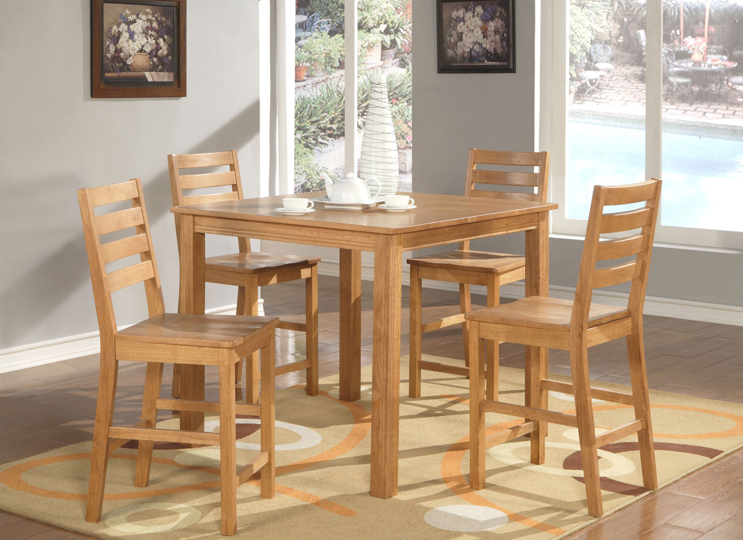 Inspiration about 5 Pc Square Counter Height Dining Table 4 Stools In Oak Finish Within Most Popular John 4 Piece Dining Sets (#10 of 20)