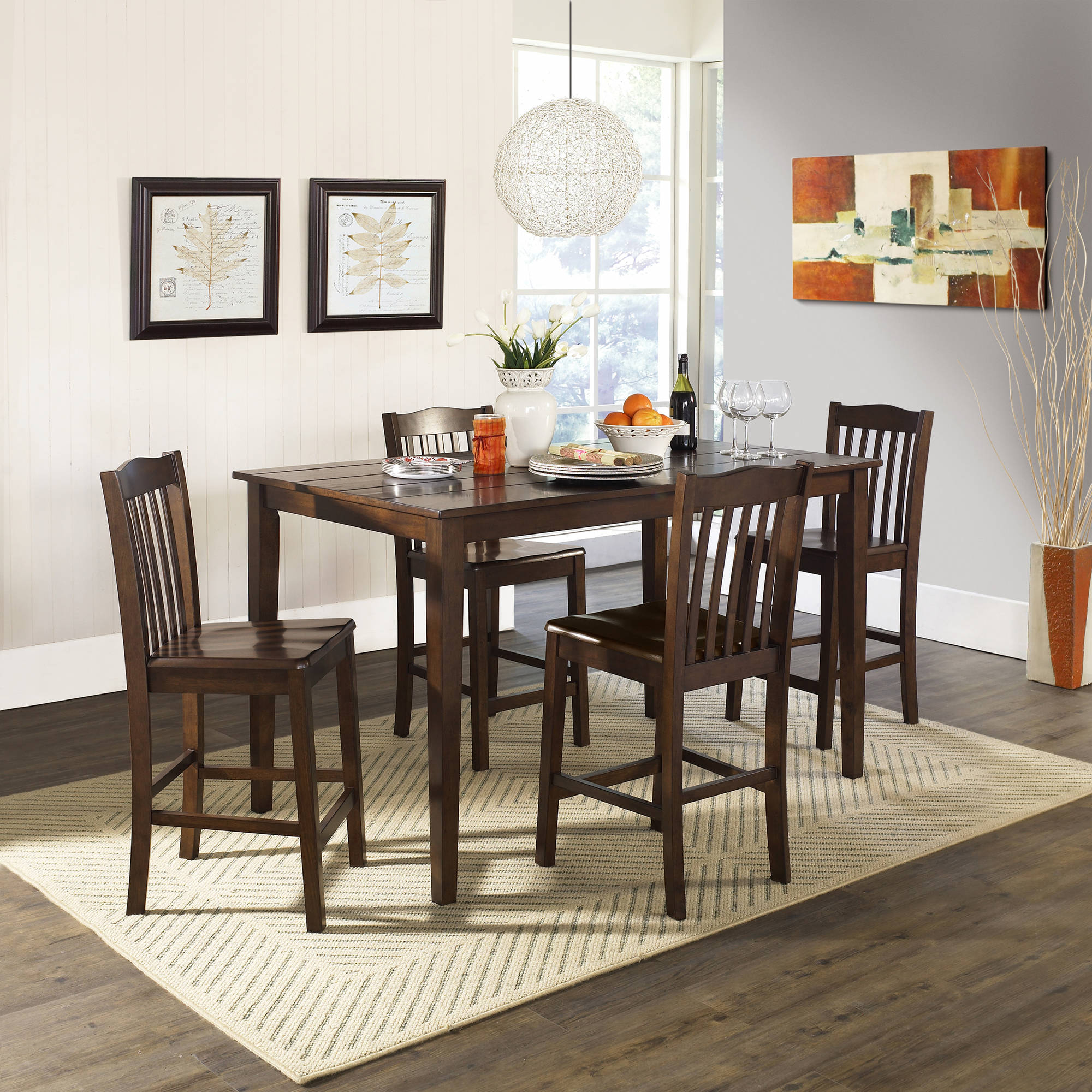 Inspiration about 5 Piece Baxter Dining Set With Storage Ottoman, Multiple Colors Pertaining To Most Recent Anette 3 Piece Counter Height Dining Sets (#9 of 20)