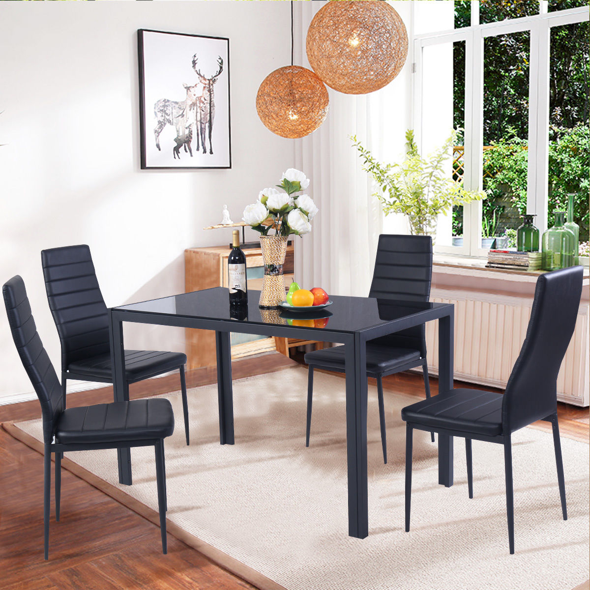 Inspiration about 5 Piece Dining Sets For Most Up To Date Costway 5 Piece Kitchen Dining Set Glass Metal Table And 4 Chairs (#19 of 20)
