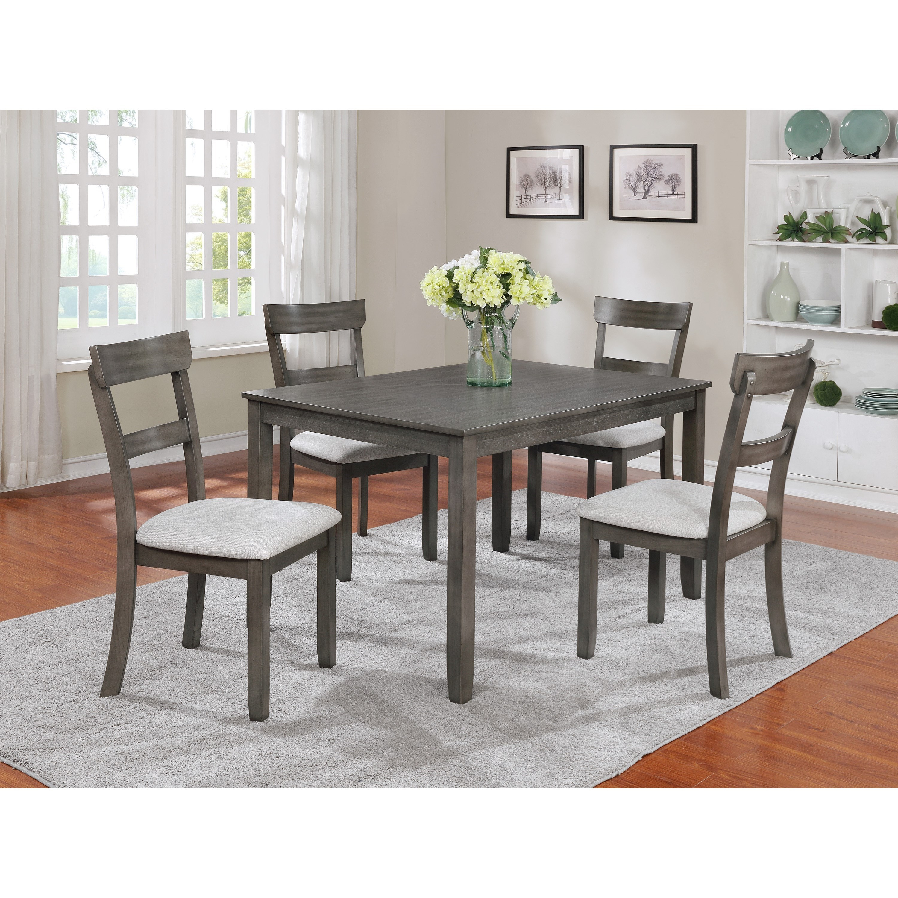 Inspiration about 5 Piece Dining Sets For Newest Crown Mark Henderson 2254Set Gy 5 Piece Dining Table And Chair Set (#1 of 20)