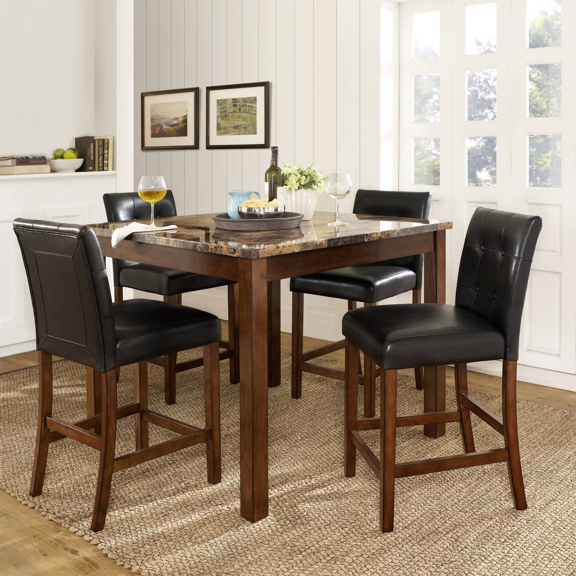 5 Piece Dining Sets Throughout Recent Dorel Living Andover 5 Piece Counter Height Dining Set, Multiple (#4 of 20)
