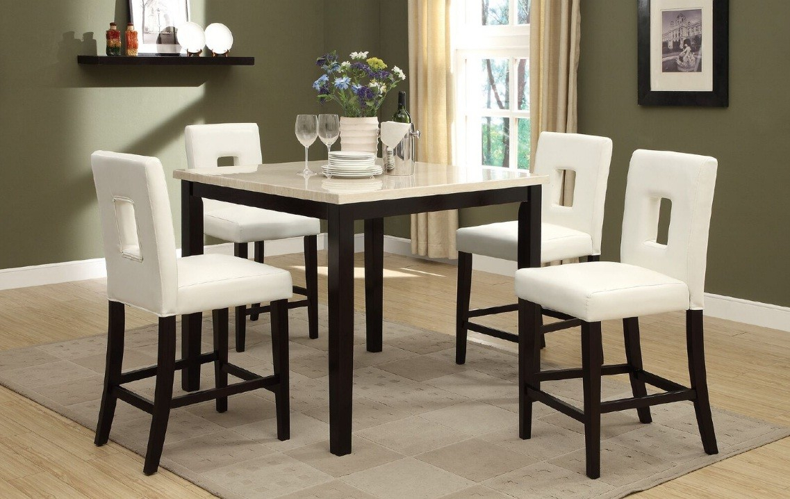 A&j Homes Studio Reagan 5 Piece Counter Height Dining Set Pertaining To Popular Kernville 3 Piece Counter Height Dining Sets (#2 of 20)