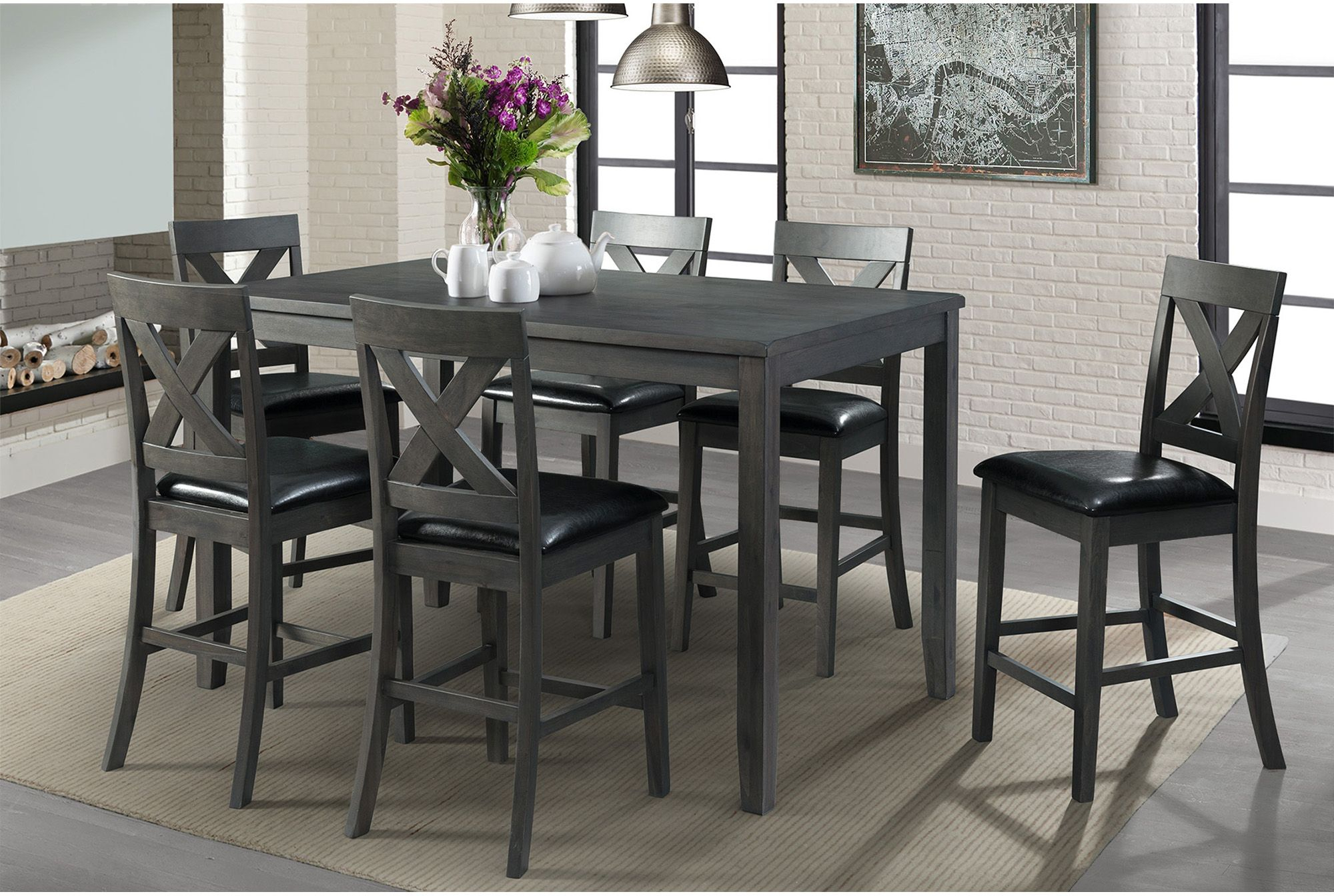 Alexa Gray 7 Piece Counter Height Dining Set From Elements Furniture In Latest Kinsler 3 Piece Bistro Sets (#1 of 20)