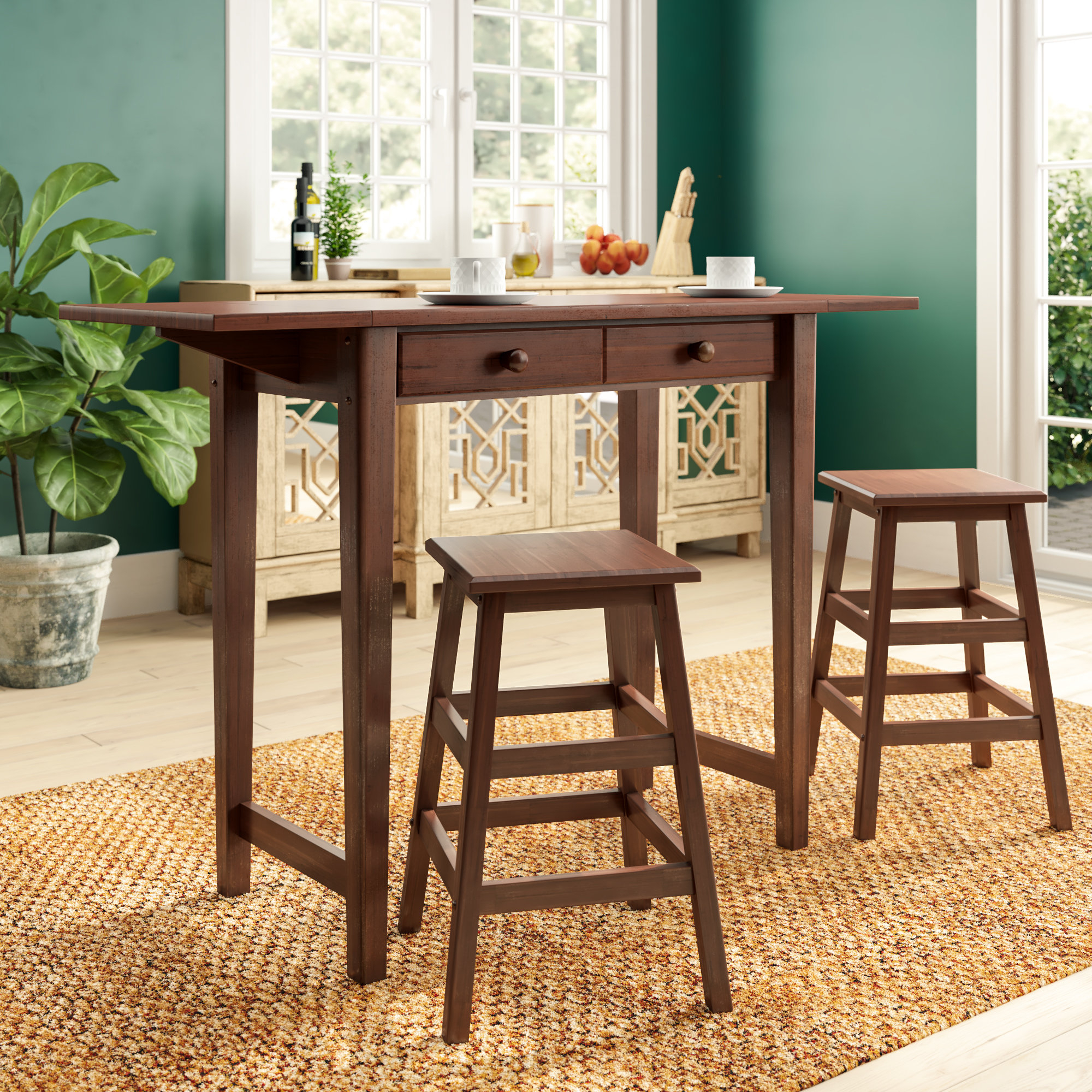 Andover Mills Poynter 3 Piece Drop Leaf Dining Set & Reviews (View 10 of 20)