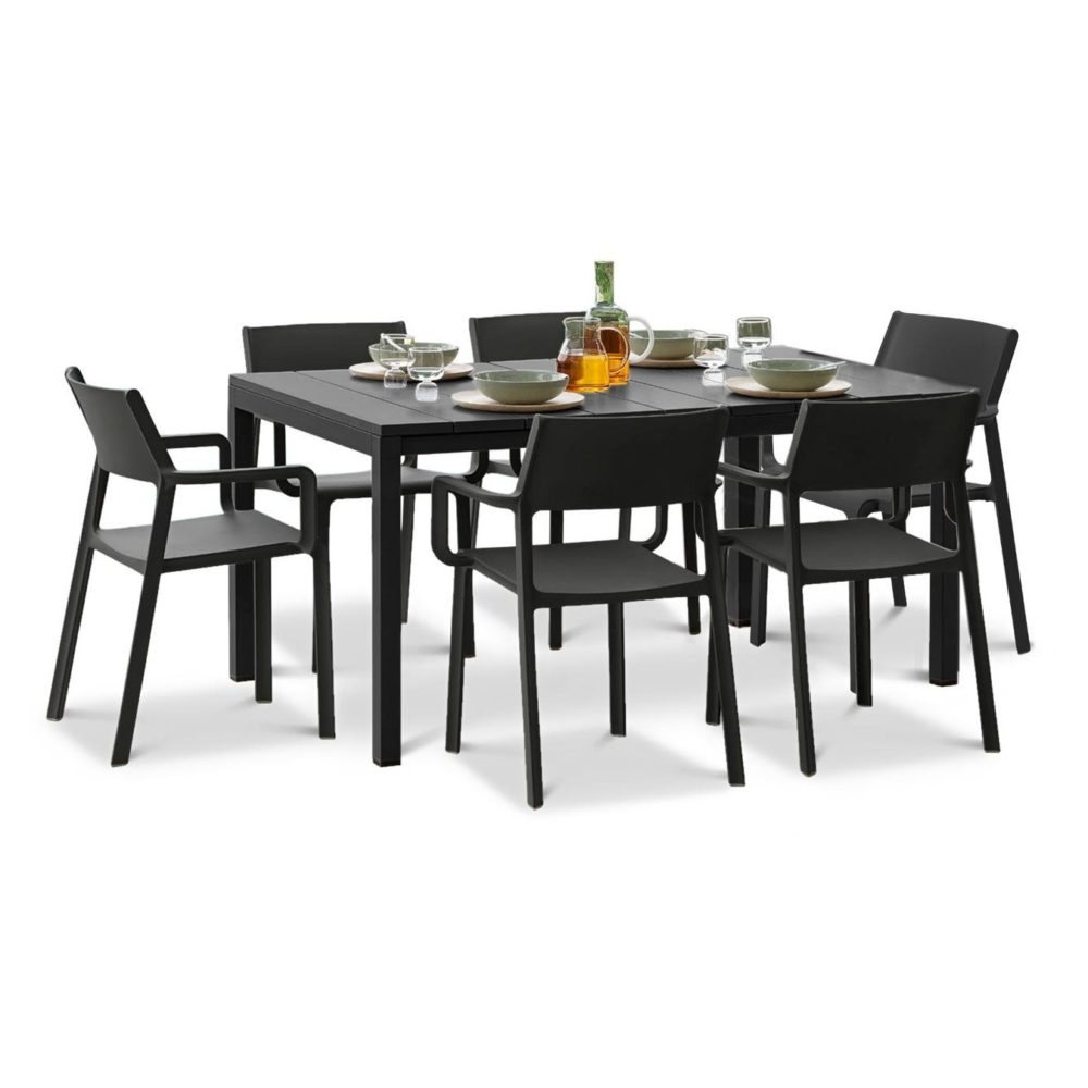 Aria 5 Piece Dining Sets Pertaining To Well Liked Trill Rio Outdoor Extendable Dining Set (6 Seater) (View 19 of 20)