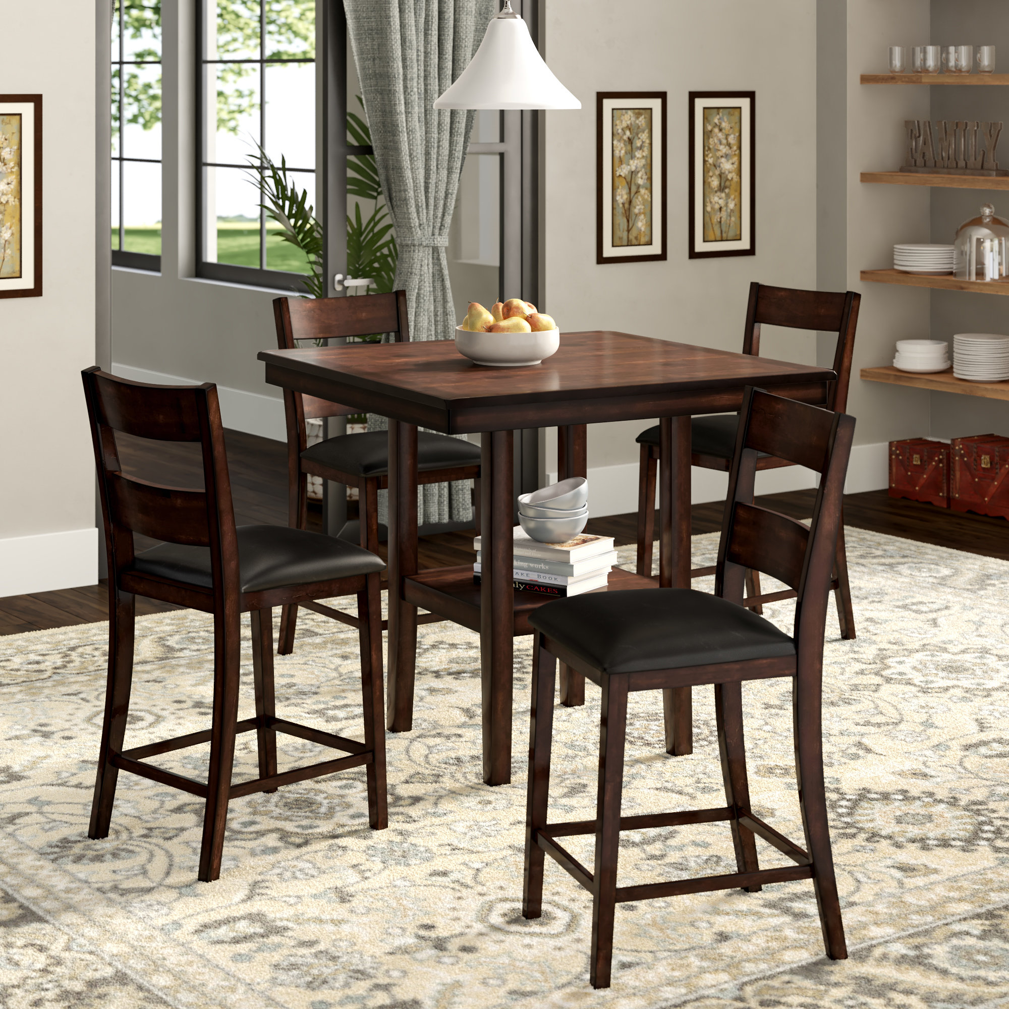 Berrios 3 Piece Counter Height Dining Sets Pertaining To 2019 Winston Porter Juno 5 Piece Counter Height Dining Set & Reviews (#2 of 20)