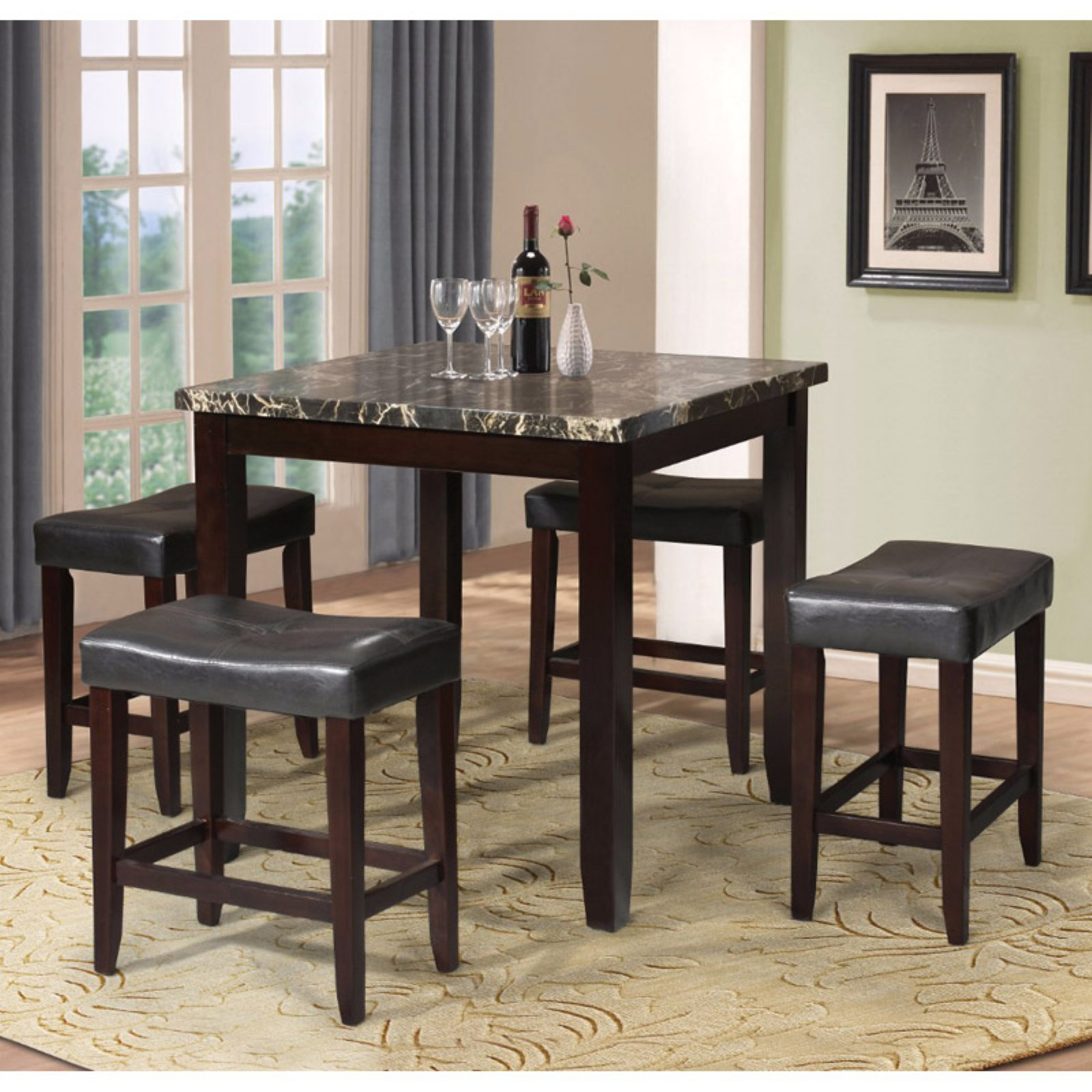 Berrios 3 Piece Counter Height Dining Sets Regarding Well Known Benzara Modish 5 Piece Faux Marble Counter Height Dining Table Set (#3 of 20)