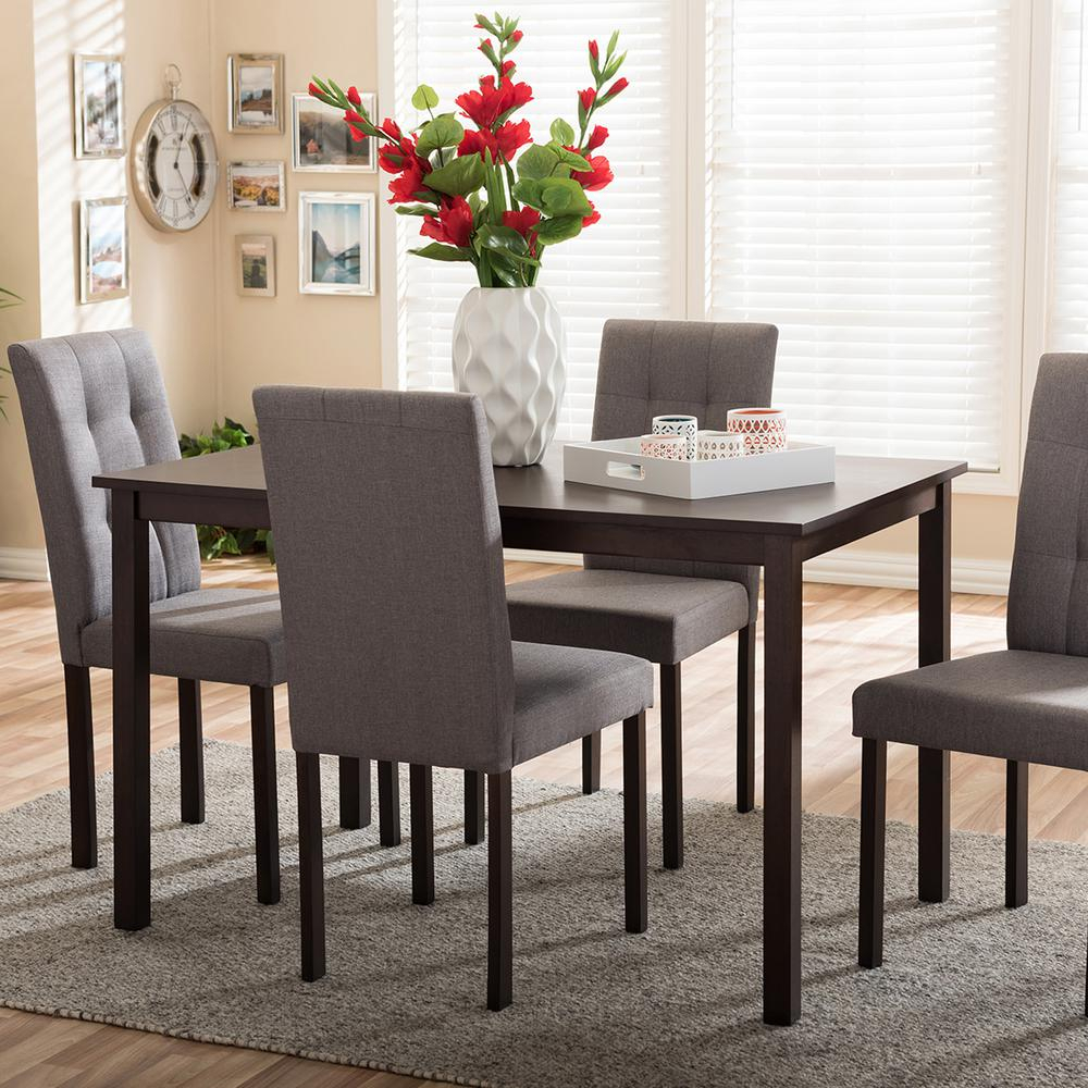 Best And Newest 5 Piece Dining Sets Intended For Baxton Studio Andrew 9 Grids 5 Piece Gray Fabric Upholstered Dining (#7 of 20)