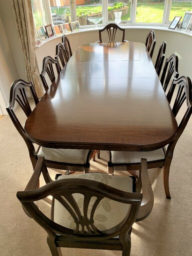 Best And Newest Mahogany Dining Table And 10 Chairs – Excellent Condition (View 7 of 20)