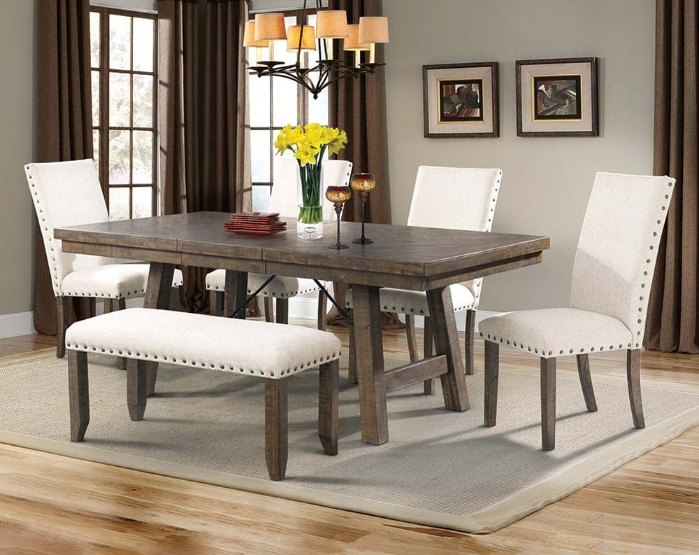 Best And Newest Natural Wood Dining Set, White Upholstery (#5 of 20)