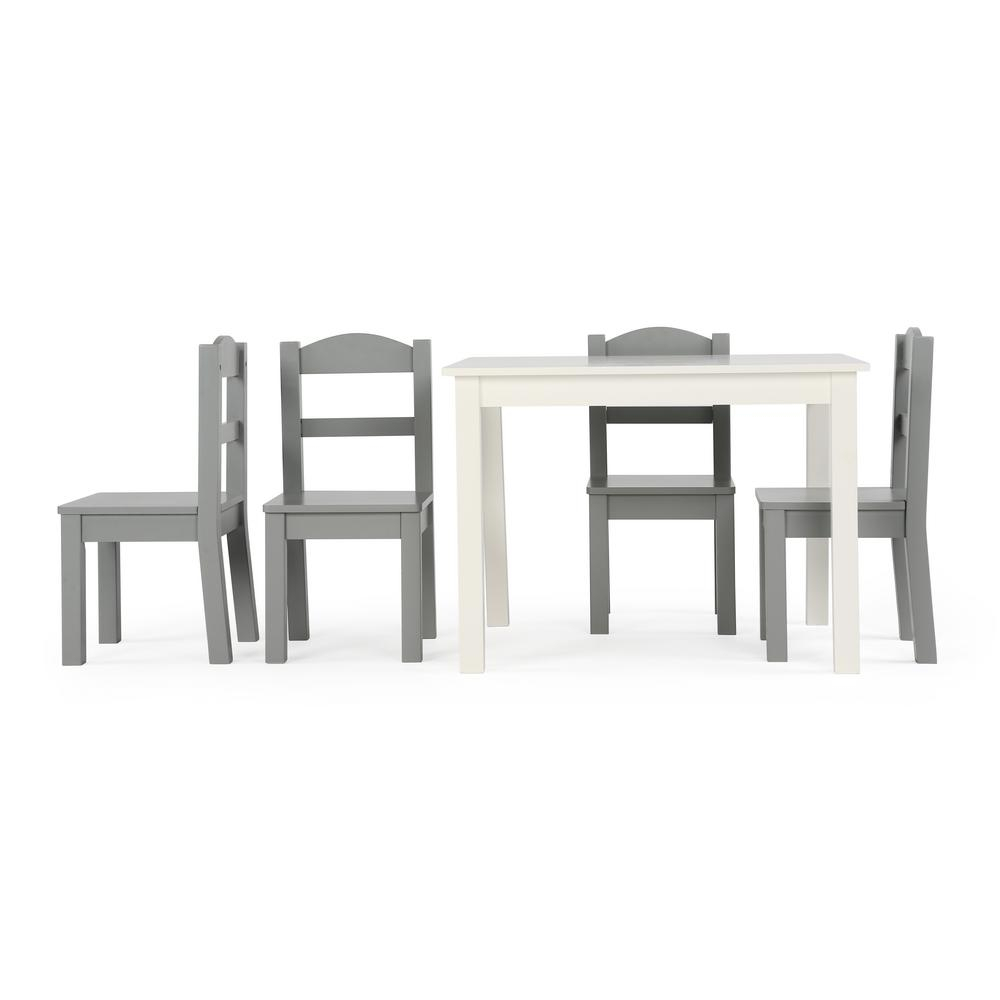 Best And Newest Tot Tutors Springfield 5 Piece White/grey Kids Table And Chair Set Within Springfield 3 Piece Dining Sets (View 14 of 20)