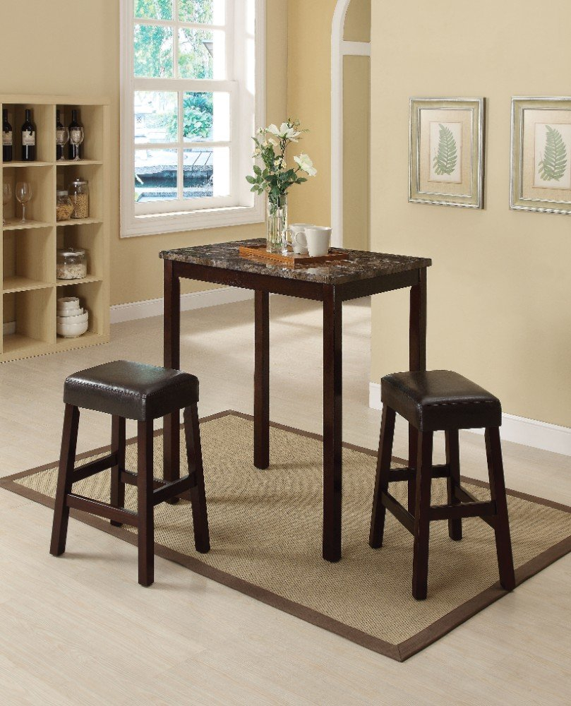Best And Newest Winston Porter Port Augusta 3 Piece Counter Height Solid Wood Dining With Penelope 3 Piece Counter Height Wood Dining Sets (#1 of 20)
