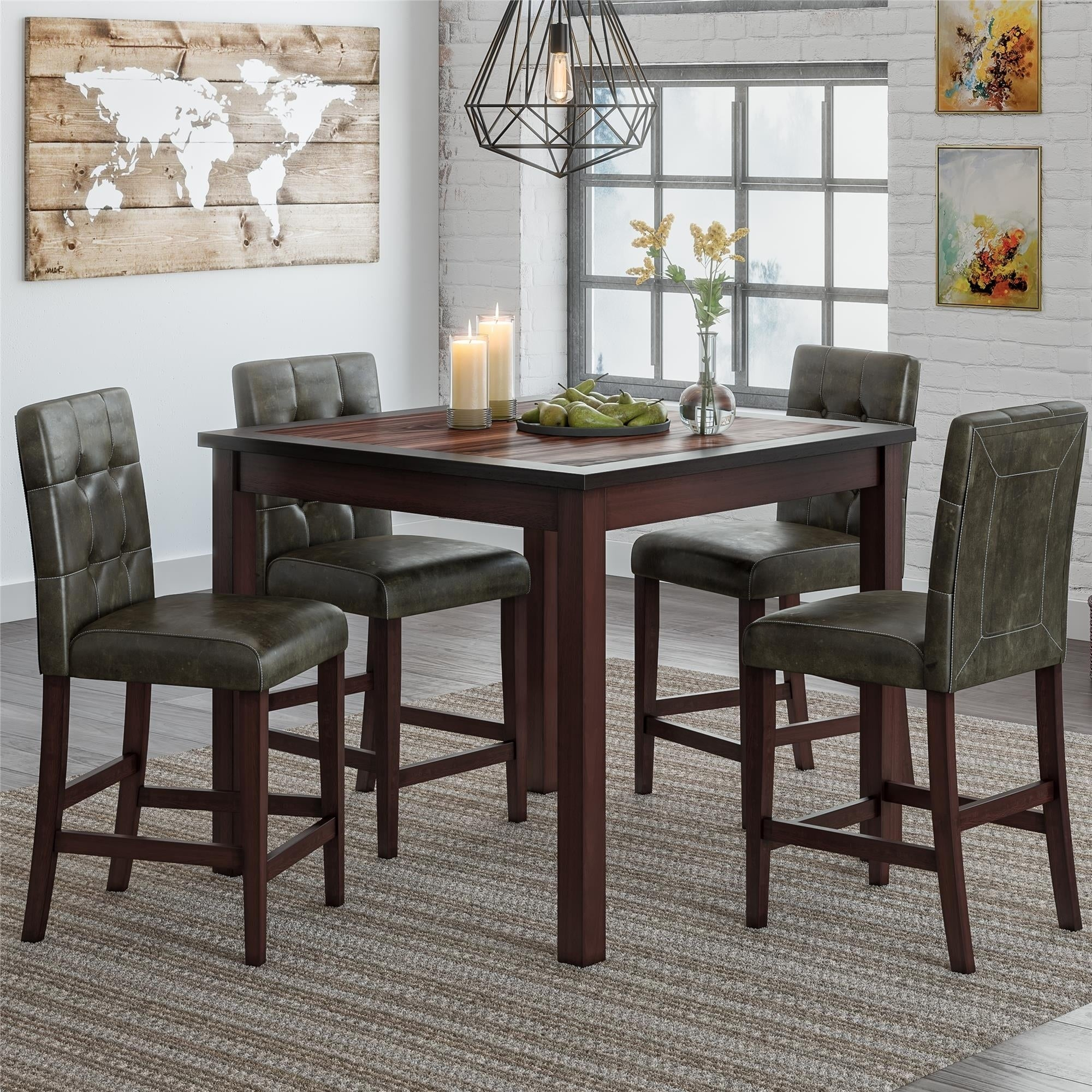 Bettencourt 3 Piece Counter Height Solid Wood Dining Sets Pertaining To Most Recently Released Shop Gracewood Hollow Betancourt Espresso 5 Piece Counter Height (#6 of 20)