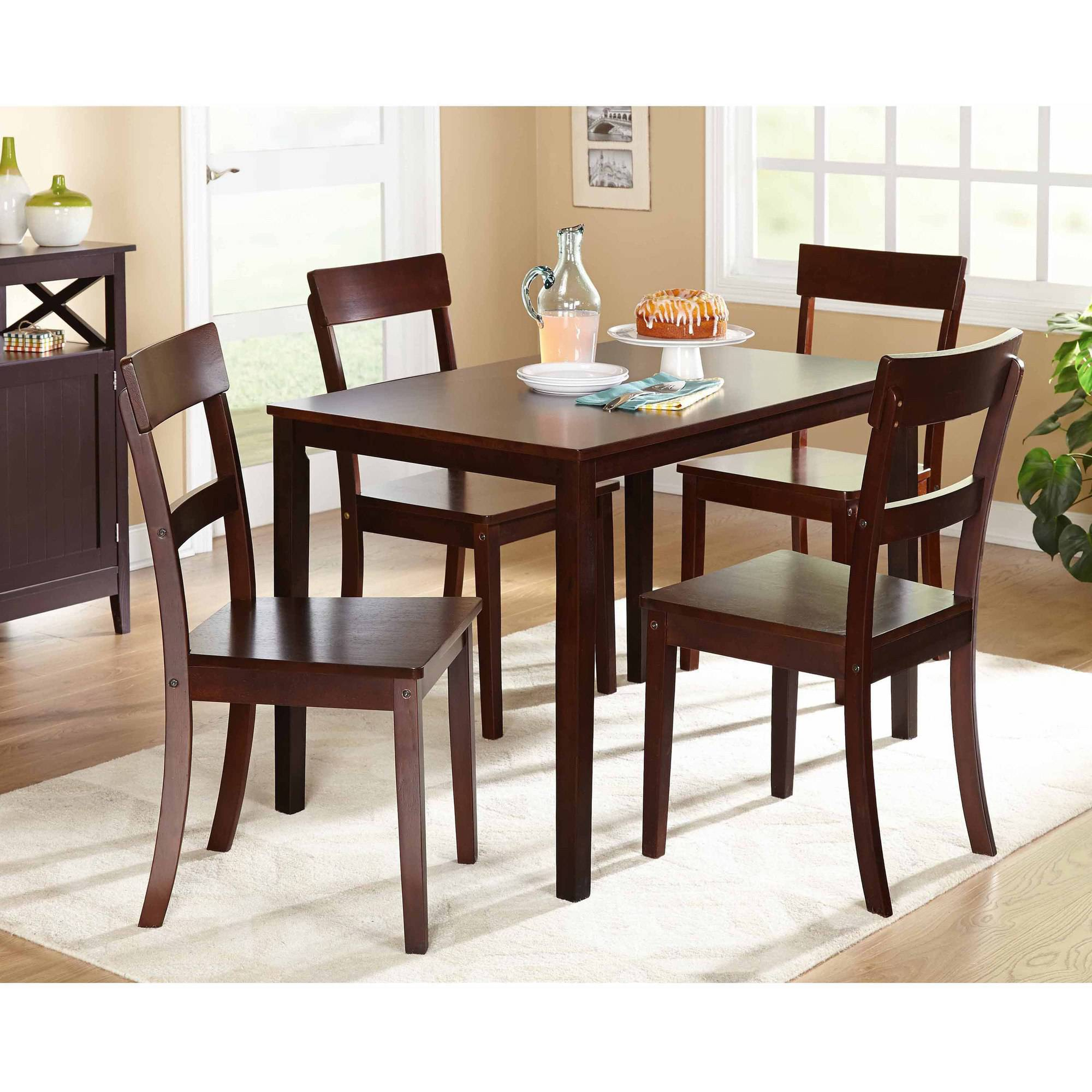 Beverly 5 Piece Dining Set, Multiple Finishes – Walmart Intended For Latest 5 Piece Dining Sets (#9 of 20)