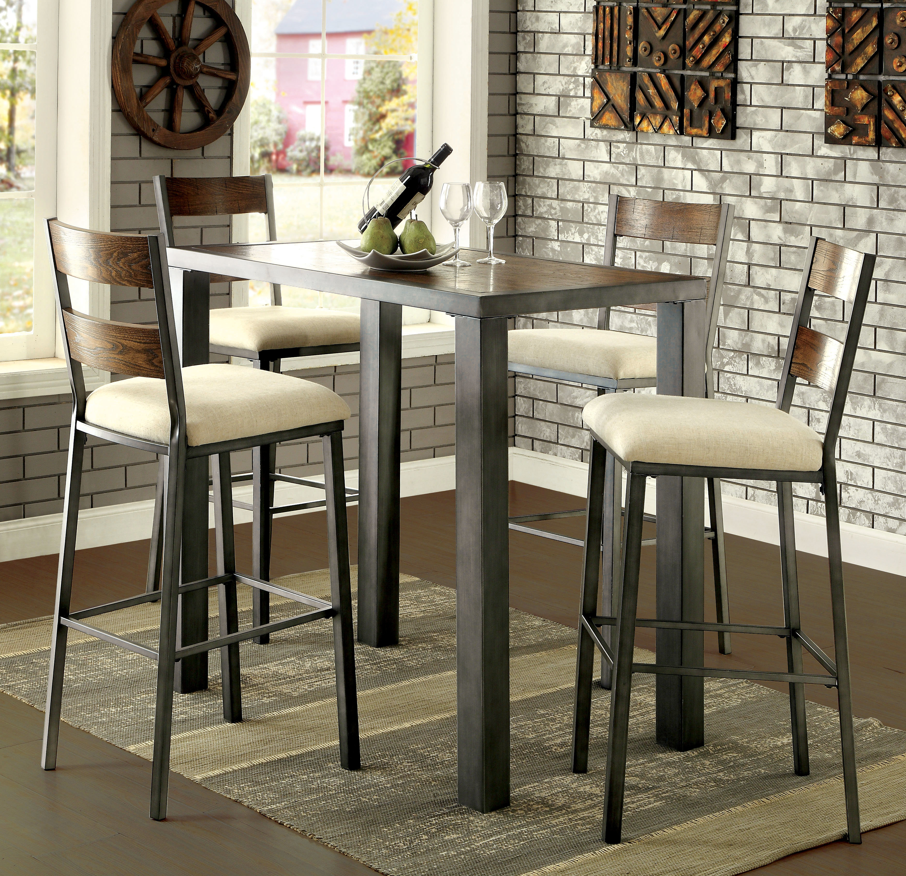 Biggs 5 Piece Counter Height Solid Wood Dining Sets (Set Of 5) For Most Recently Released Thurman 5 Piece Pub Table Set (#2 of 20)