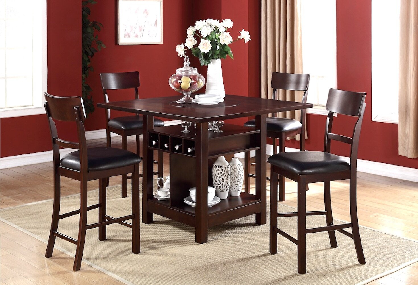 Biggs 5 Piece Counter Height Solid Wood Dining Sets (Set Of 5) Intended For Most Recent Stevenson 5 Piece Pub Table Set (#4 of 20)