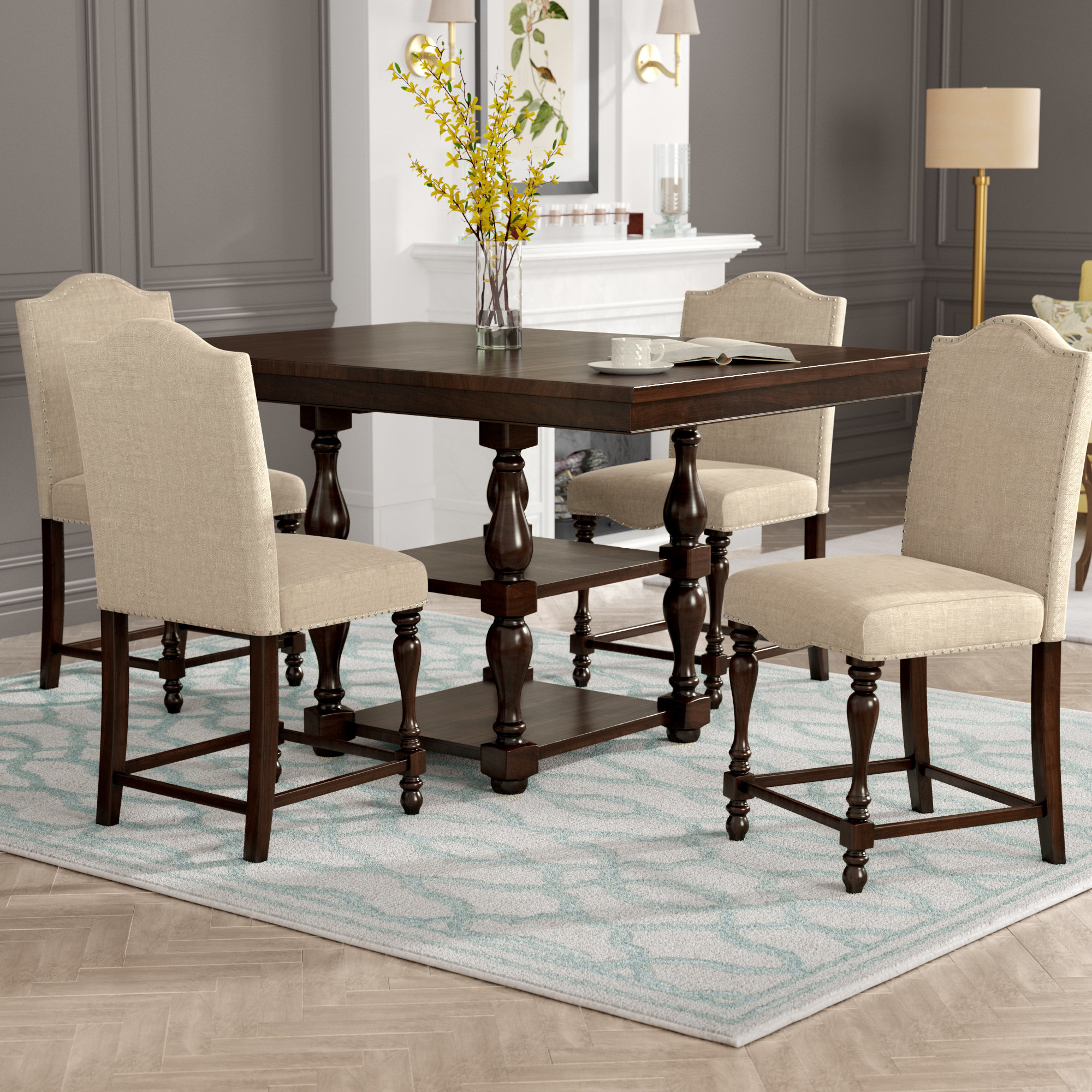 Birch Lane™ Heritage Barrera 5 Piece Counter Height Dining Set Throughout Well Known Bryson 5 Piece Dining Sets (#4 of 20)