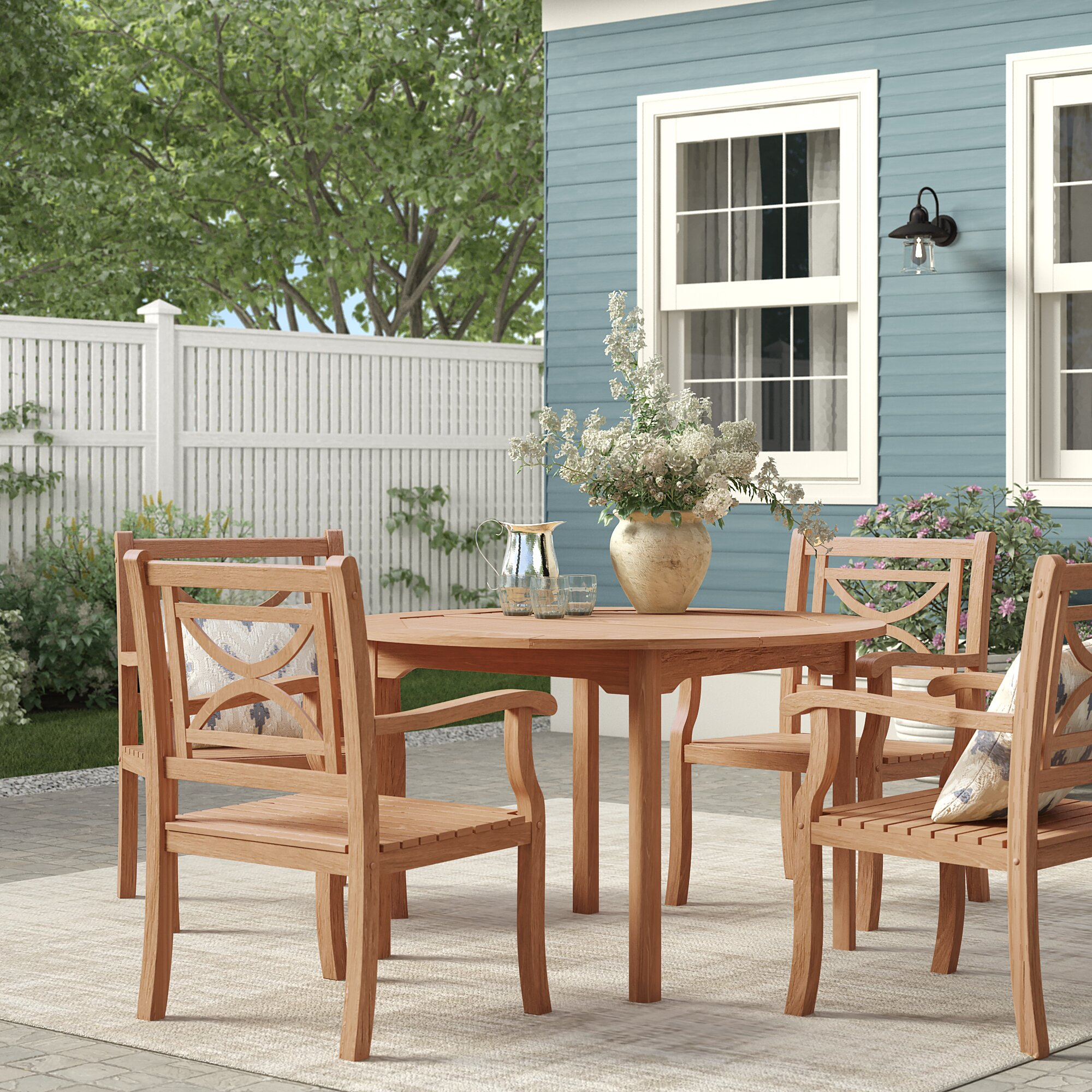 Birch Lane™ Heritage Brunswick 5 Piece Teak Dining Set (#9 of 20)