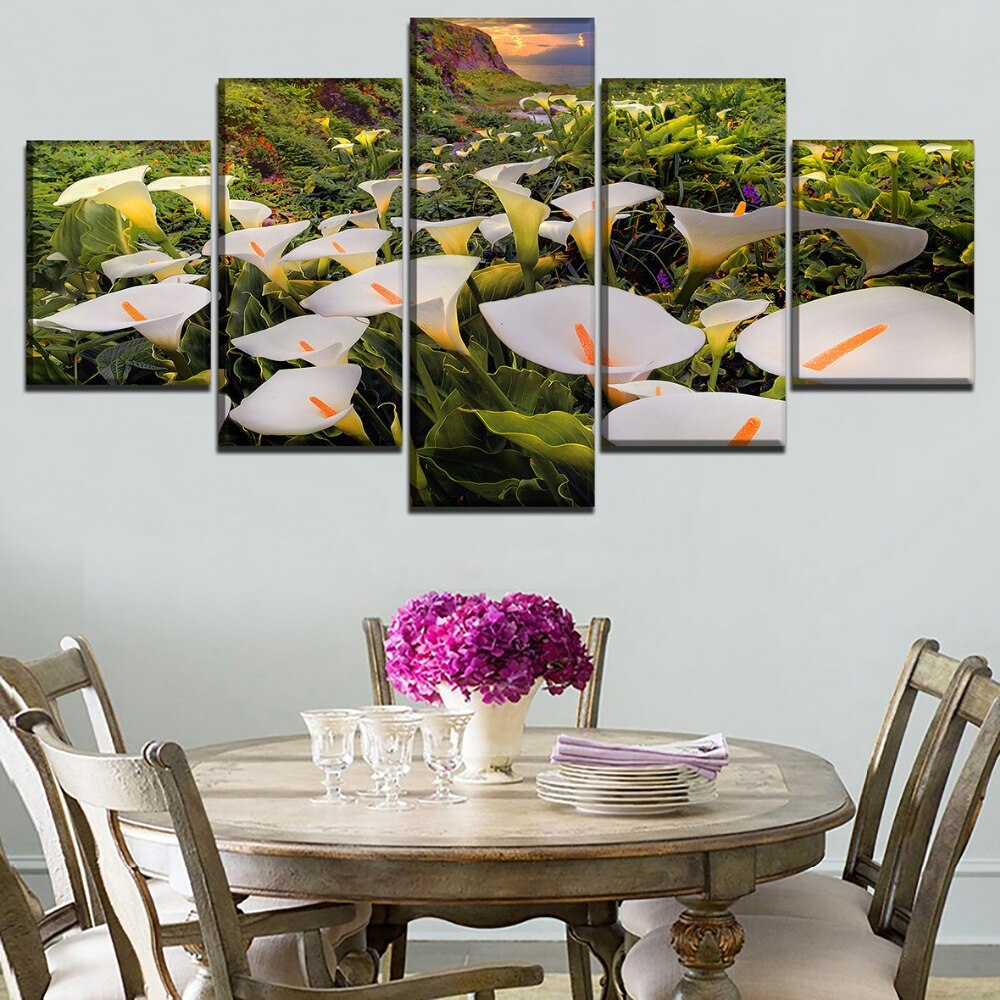 Calla 5 Piece Dining Sets Intended For Latest Canvas Hd Prints Paintings Wall Art 5 Pieces Calla Lily Flower (#2 of 20)