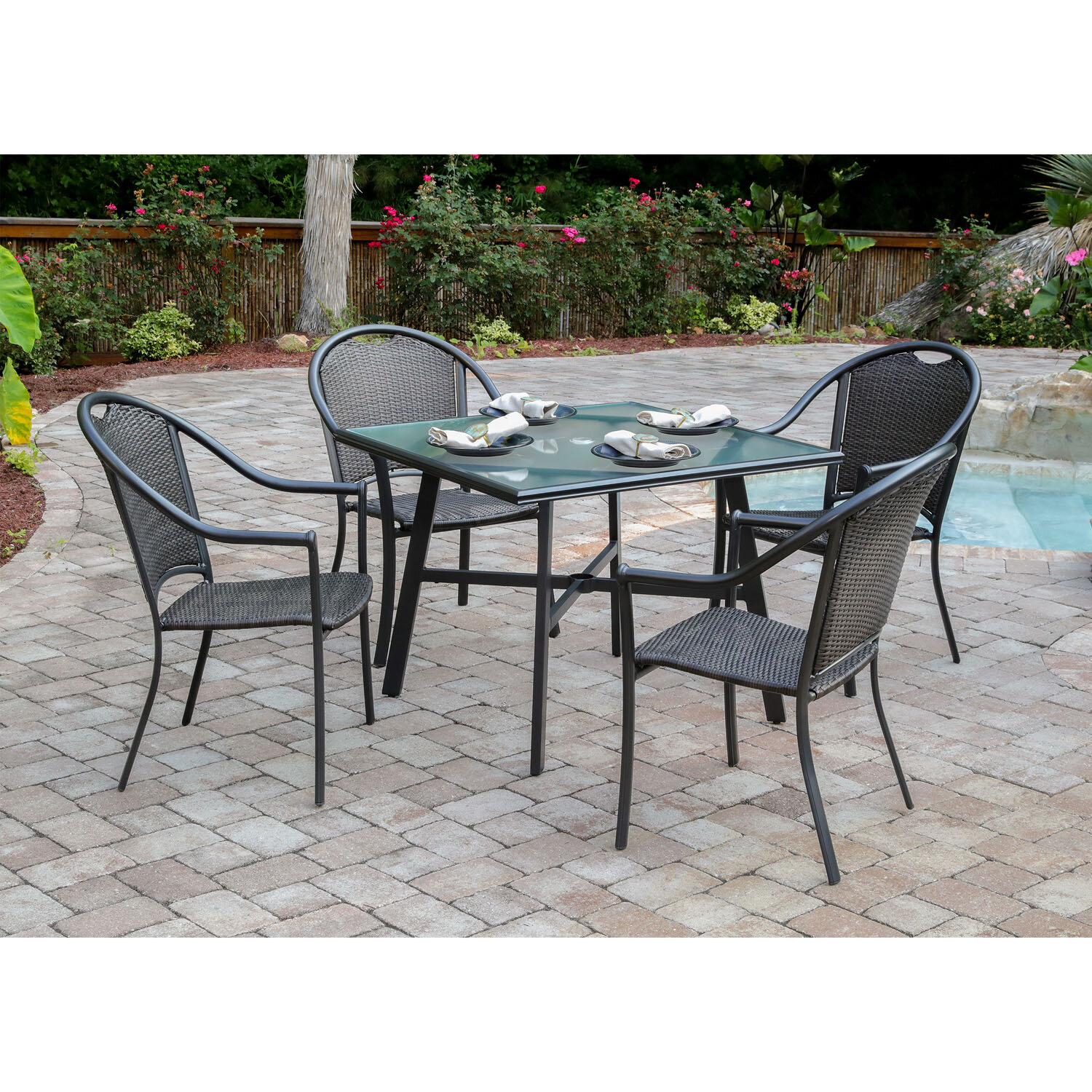 Charlton Home Bearden 5 Piece Commercial Grade Patio Set With 4 Inside Most Popular Bearden 3 Piece Dining Sets (#5 of 20)