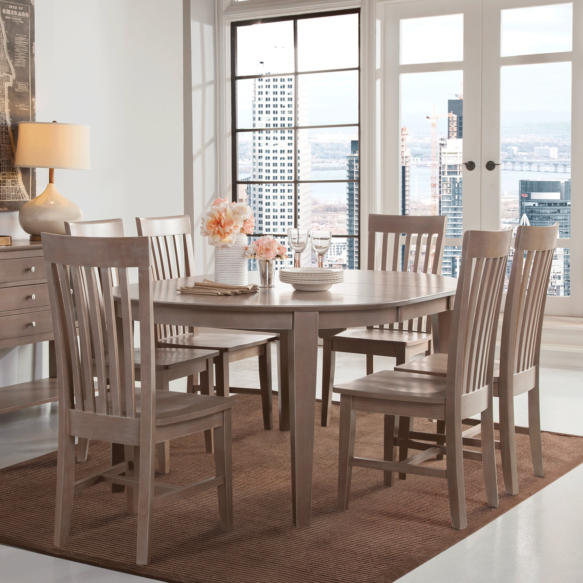 Cosmopolitan Weathered Grey Dining Room 5 Piece Set – Oval Table Pertaining To 2018 John 4 Piece Dining Sets (#3 of 20)