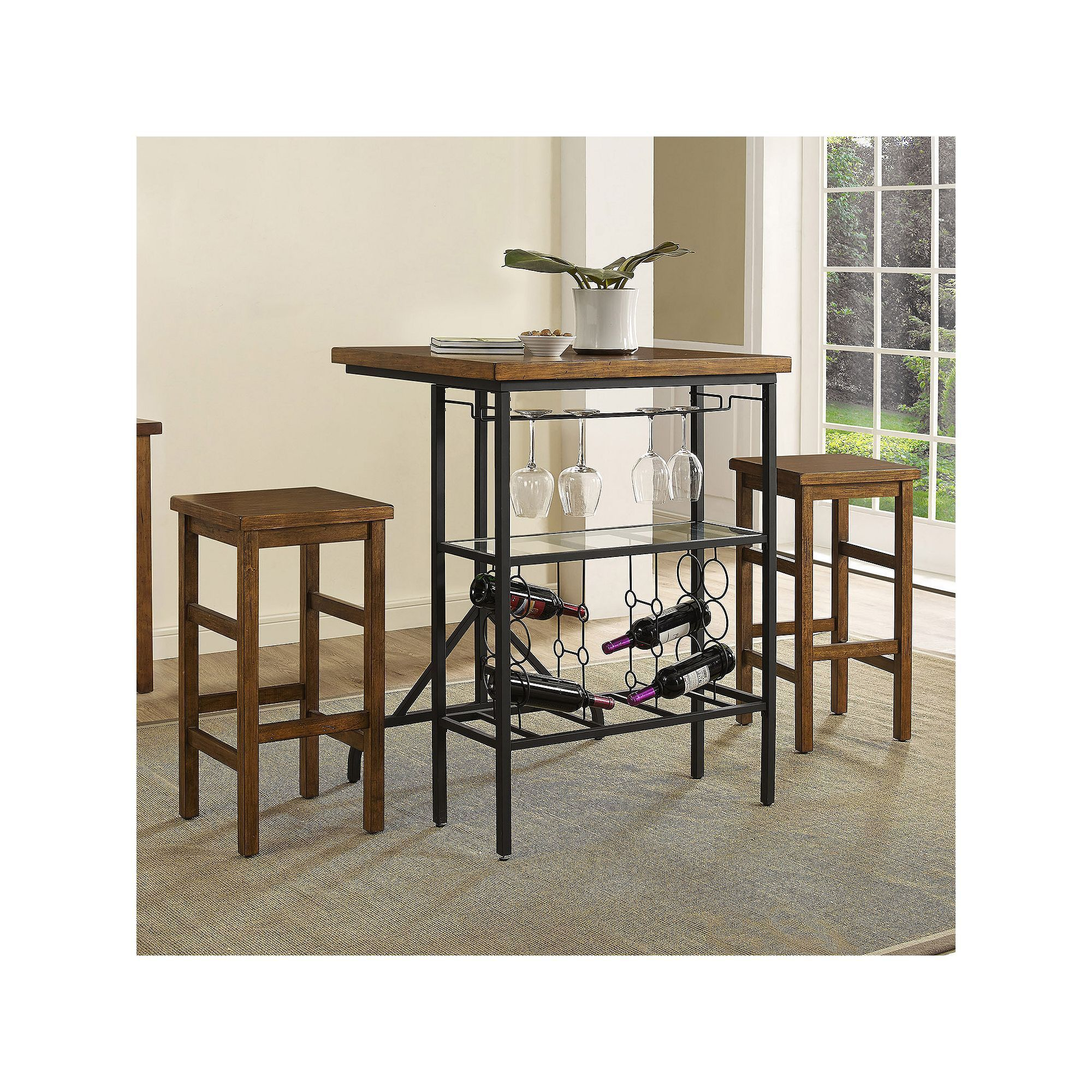 Crosley Furniture Sienna Wine Rack Bistro Table & Bar Stool 3 Piece For 2019 Hood Canal 3 Piece Dining Sets (#2 of 20)