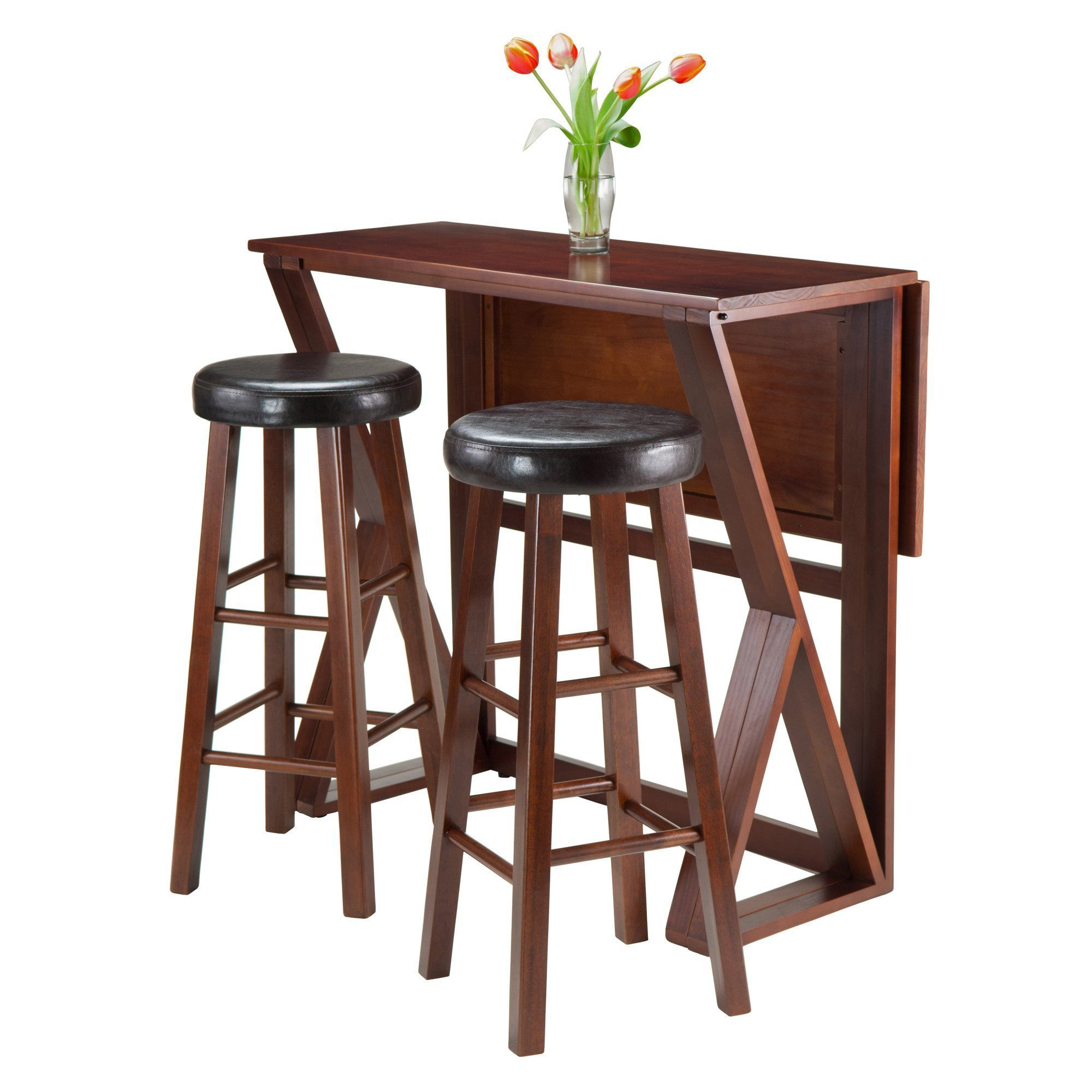 Current Crownover 3 Piece Bar Table Sets In Harrington 3 Pc Drop Leaf High Table With Two Marta Cushion (#6 of 20)