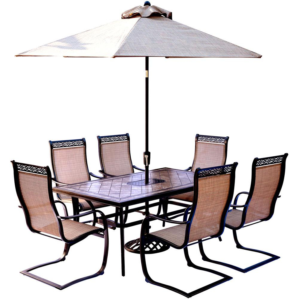 Current Hanover Monaco 7 Piece Outdoor Dining Set With Rectangular Tile Top For Saintcroix 3 Piece Dining Sets (#3 of 20)