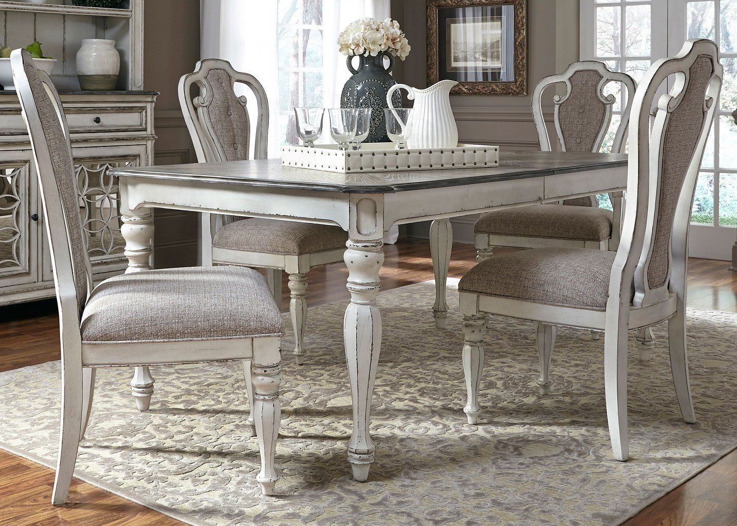 Current Lamotte 5 Piece Dining Sets Throughout Magnolia Manor Dining Room Set W/ 90 Inch Table In  (View 2 of 20)