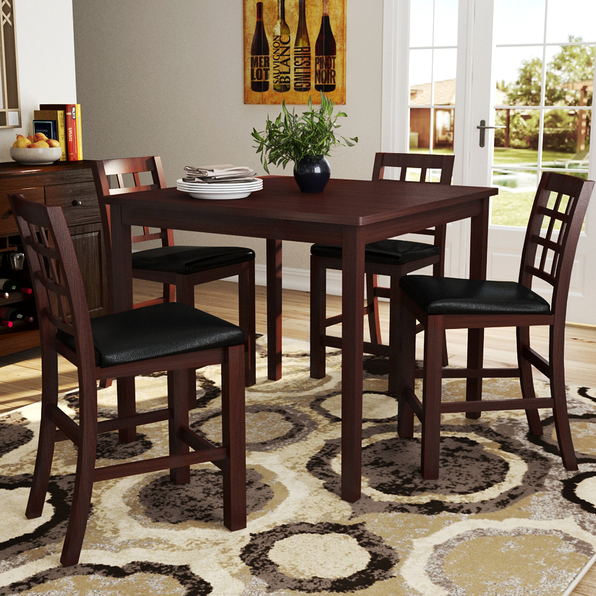 Current Penelope 3 Piece Counter Height Wood Dining Sets With Regard To Red Barrel Studio Plymouth 5 Piece Counter Height Dining Set (#2 of 20)