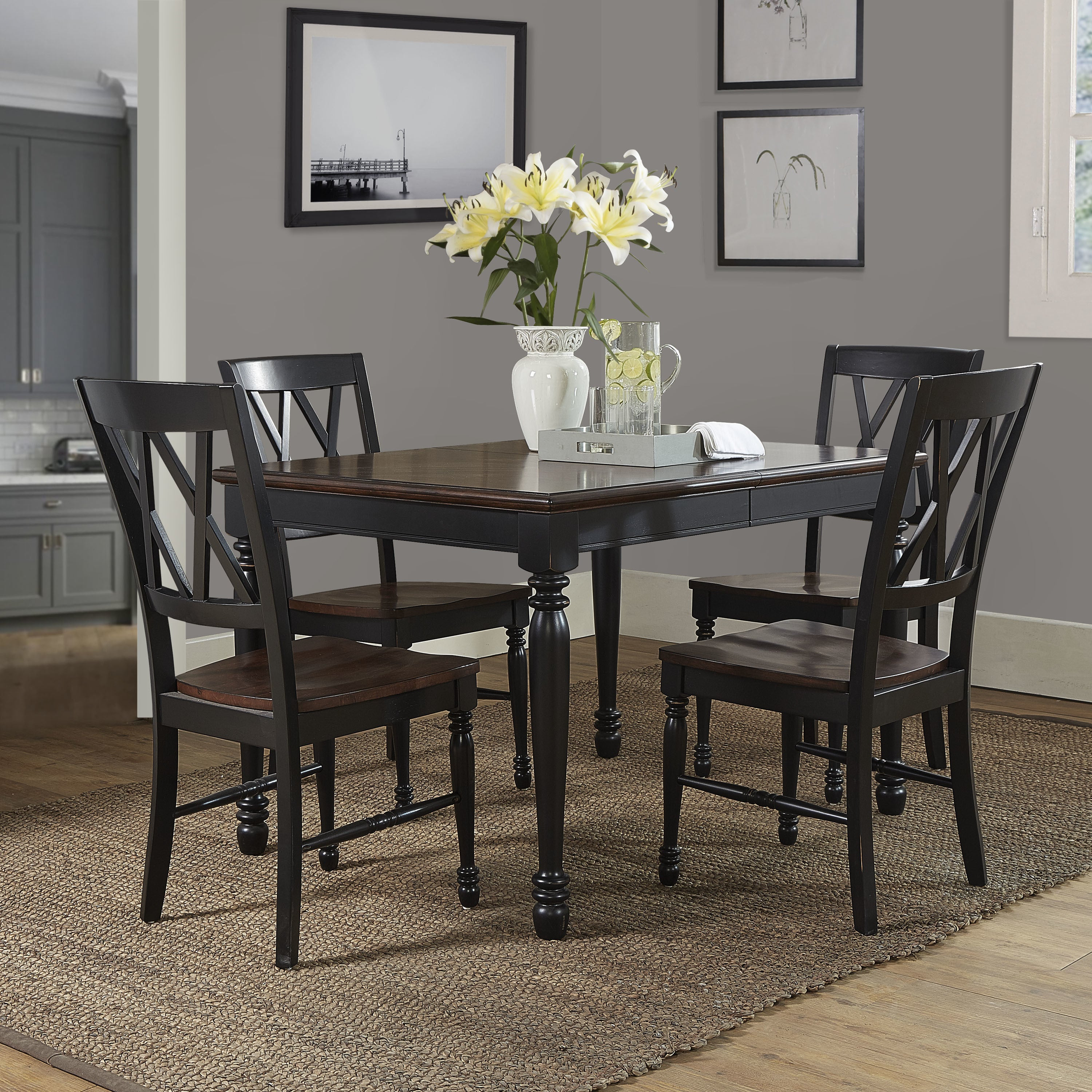 Current Shop Shelby Black Wood 5 Piece Dining Set – Free Shipping Today Inside Laconia 7 Pieces Solid Wood Dining Sets (Set Of 7) (#1 of 20)