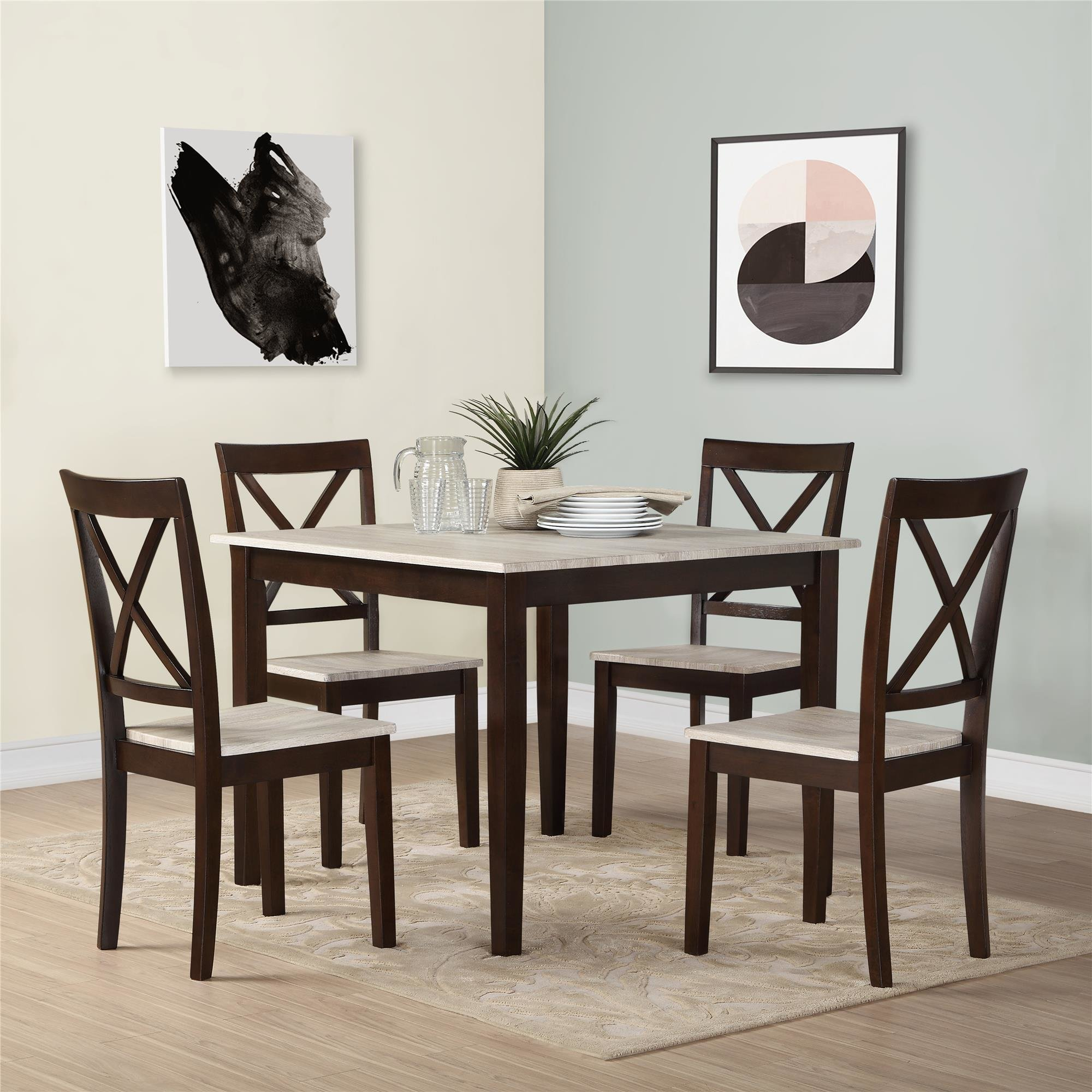 Current Tenney 3 Piece Counter Height Dining Sets Pertaining To Tilley Rustic 5 Piece Dining Set & Reviews (#6 of 20)