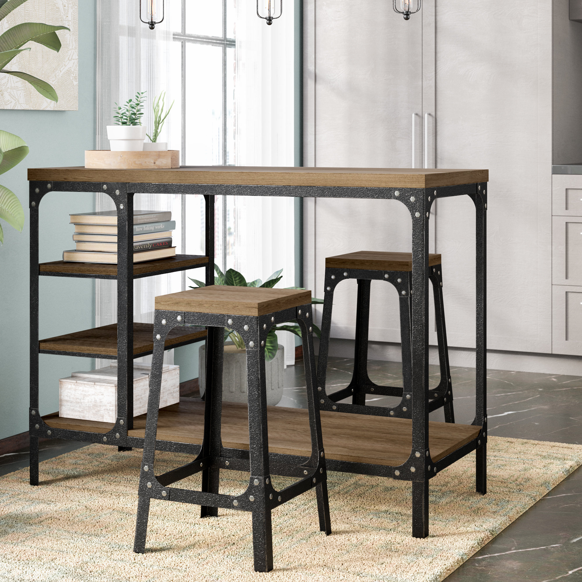 Current Williston Forge Terence 3 Piece Breakfast Nook Dining Set & Reviews With Regard To Winsted 4 Piece Counter Height Dining Sets (View 6 of 20)