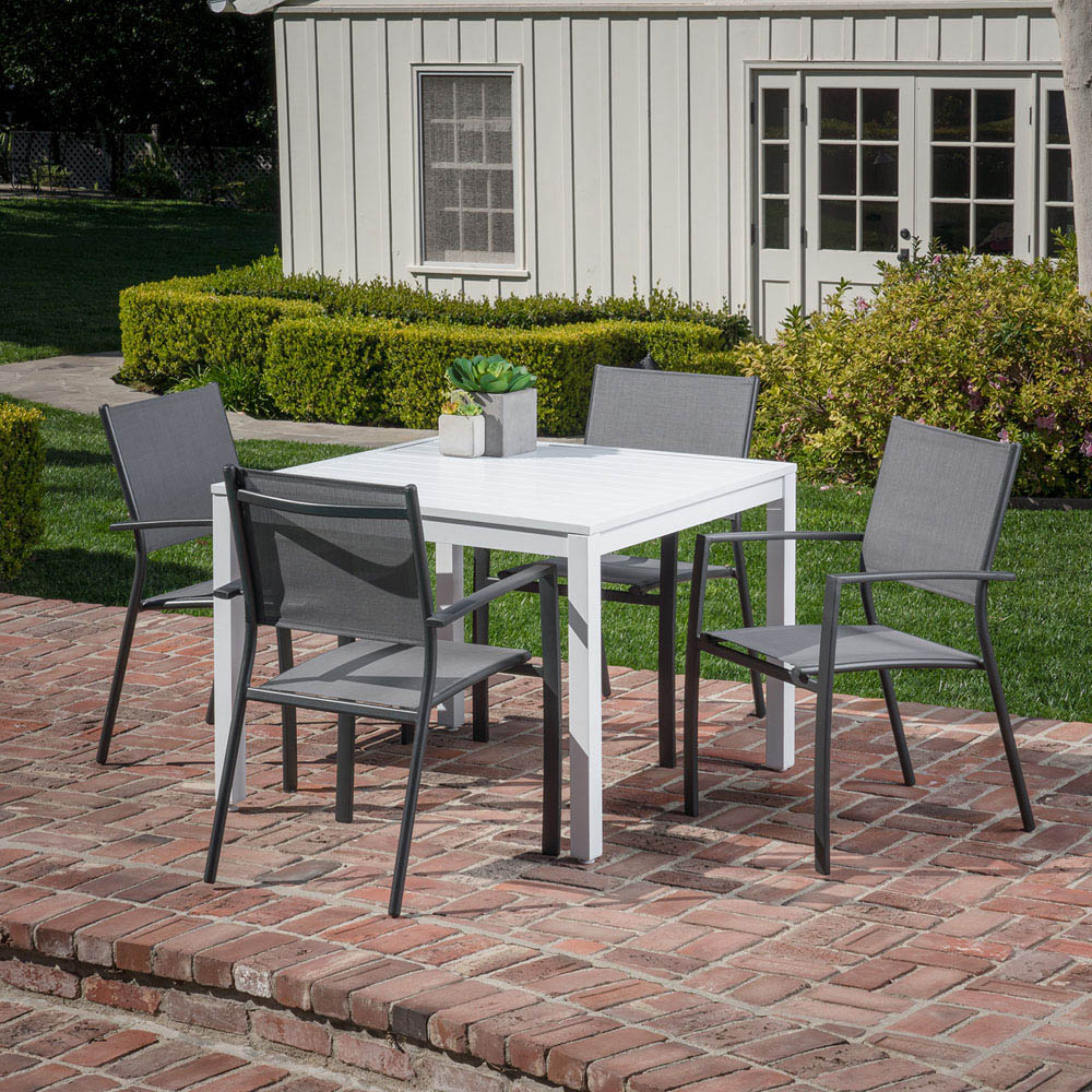 Delmar 5 Piece Dining Sets Throughout Widely Used Hanover Del Mar 5 Piece Outdoor Dining Set With 4 Sling Arm Chairs (View 6 of 20)