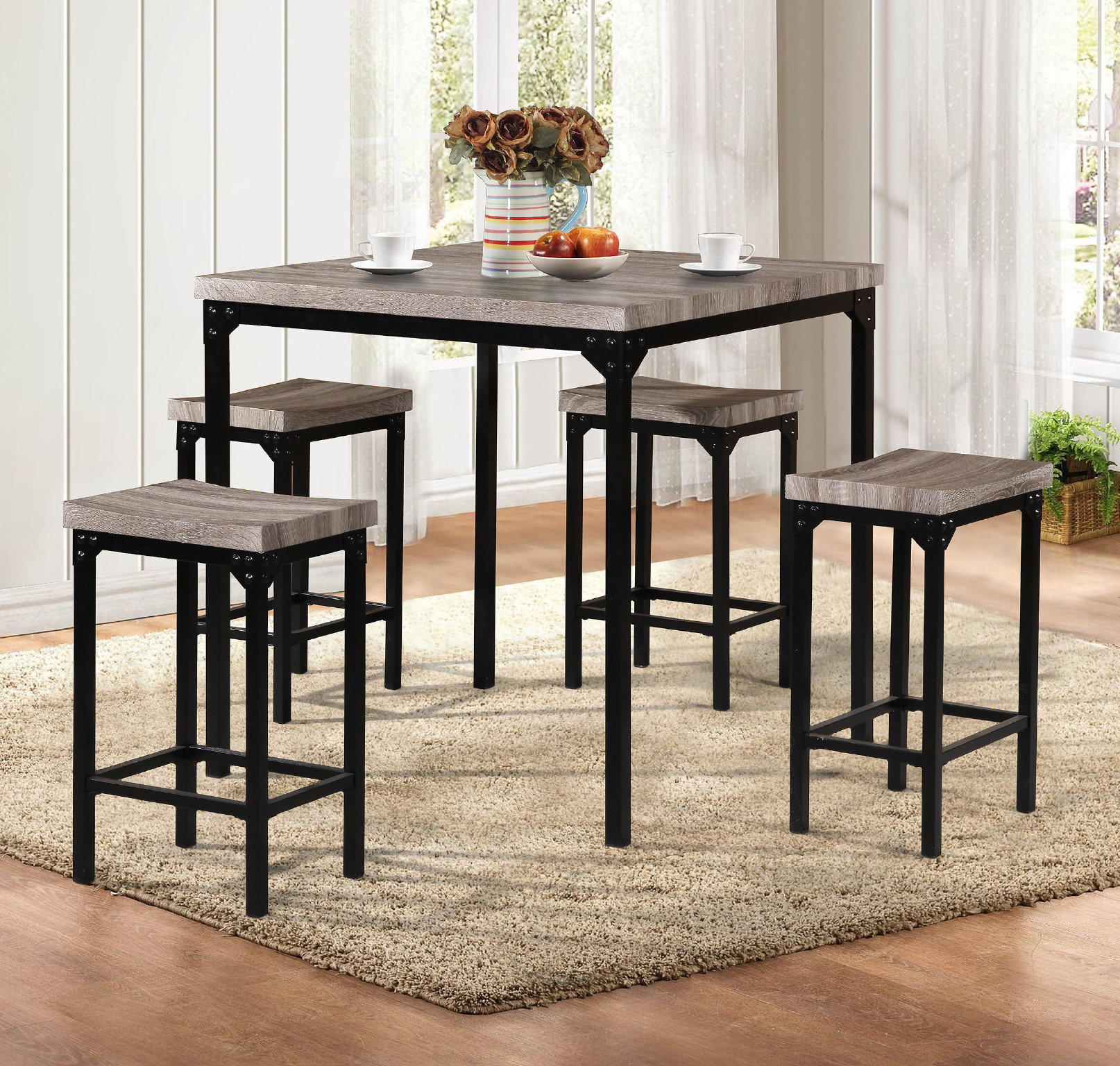 Denzel 5 Piece Counter Height Breakfast Nook Dining Sets Inside Widely Used Latitude Run Breen 5 Piece Pub Table Set (#3 of 20)