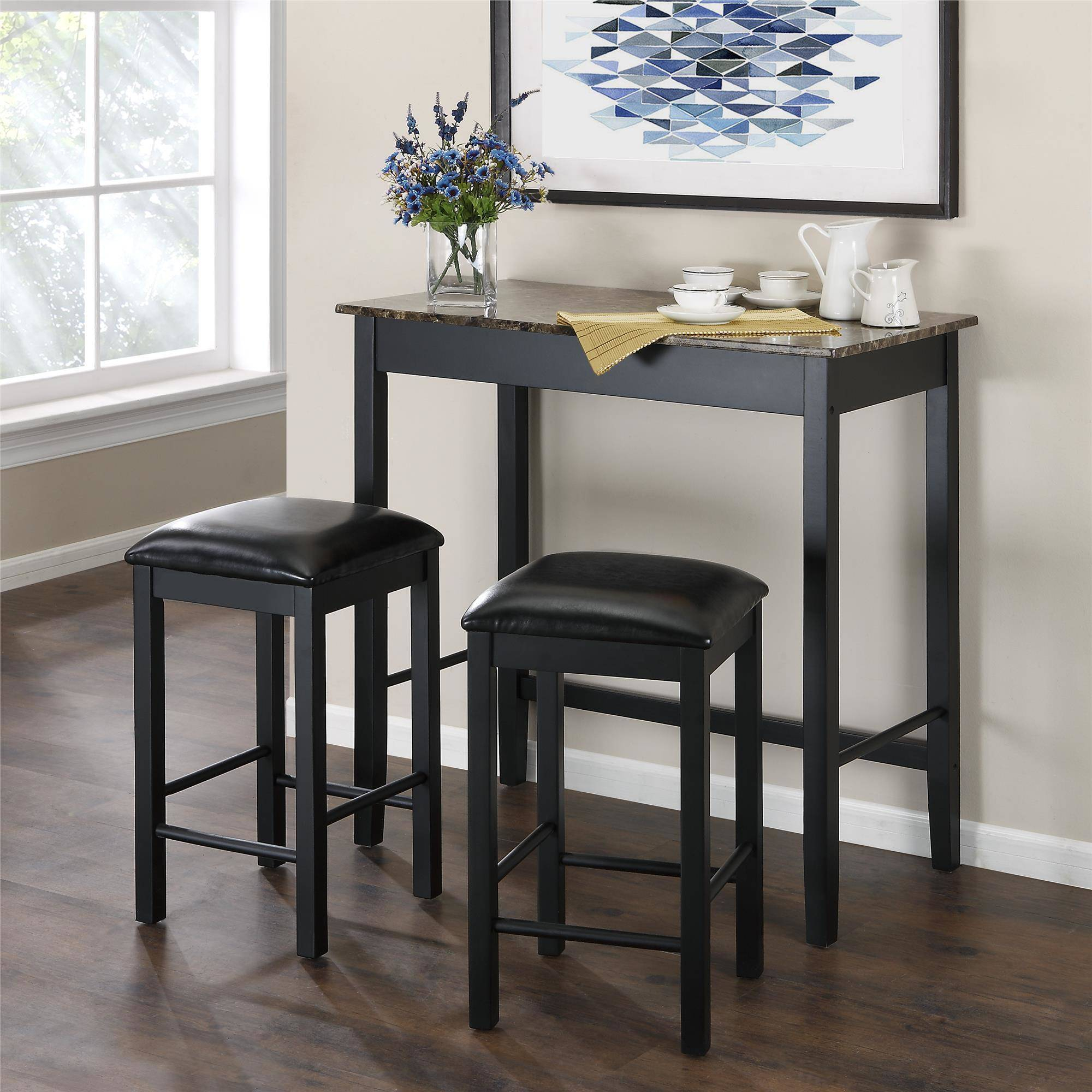 Inspiration about Dorel Living Devyn 3 Piece Faux Marble Pub Dining Set, Black With Current 3 Piece Breakfast Dining Sets (#8 of 20)