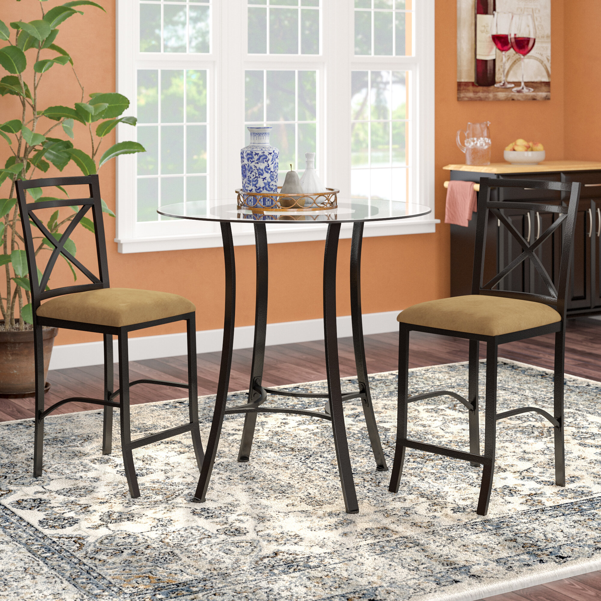 Ebay Inside Most Recent Mizpah 3 Piece Counter Height Dining Sets (View 7 of 20)