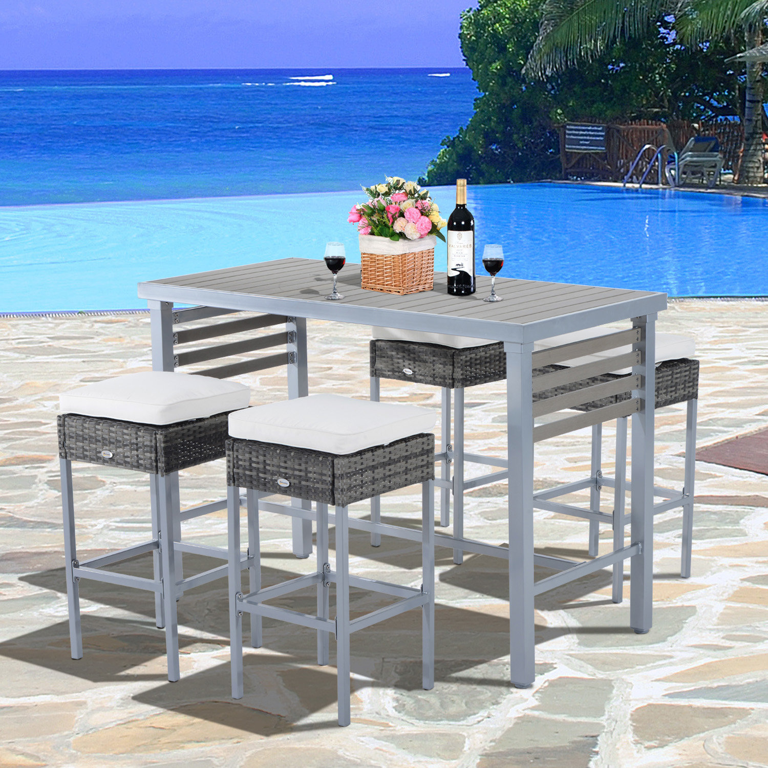 Ebern Designs Rosa 5 Piece Patio Bar Height Dining Set With Cushions Throughout Well Known Sheetz 3 Piece Counter Height Dining Sets (View 20 of 20)