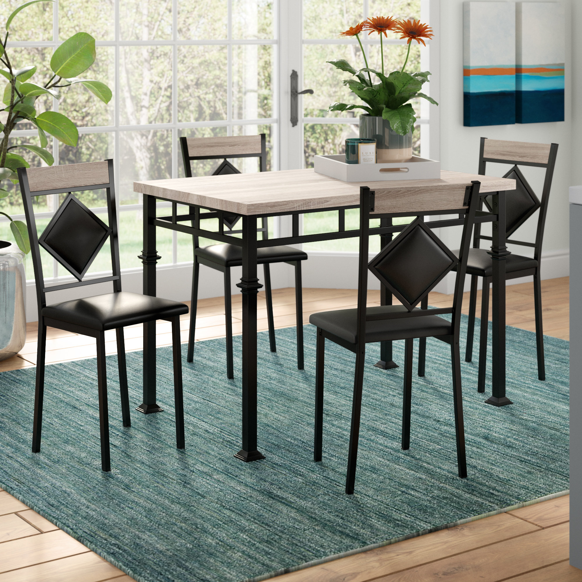 Ebern Designs Tavarozzi 5 Piece Dining Set & Reviews (#5 of 20)